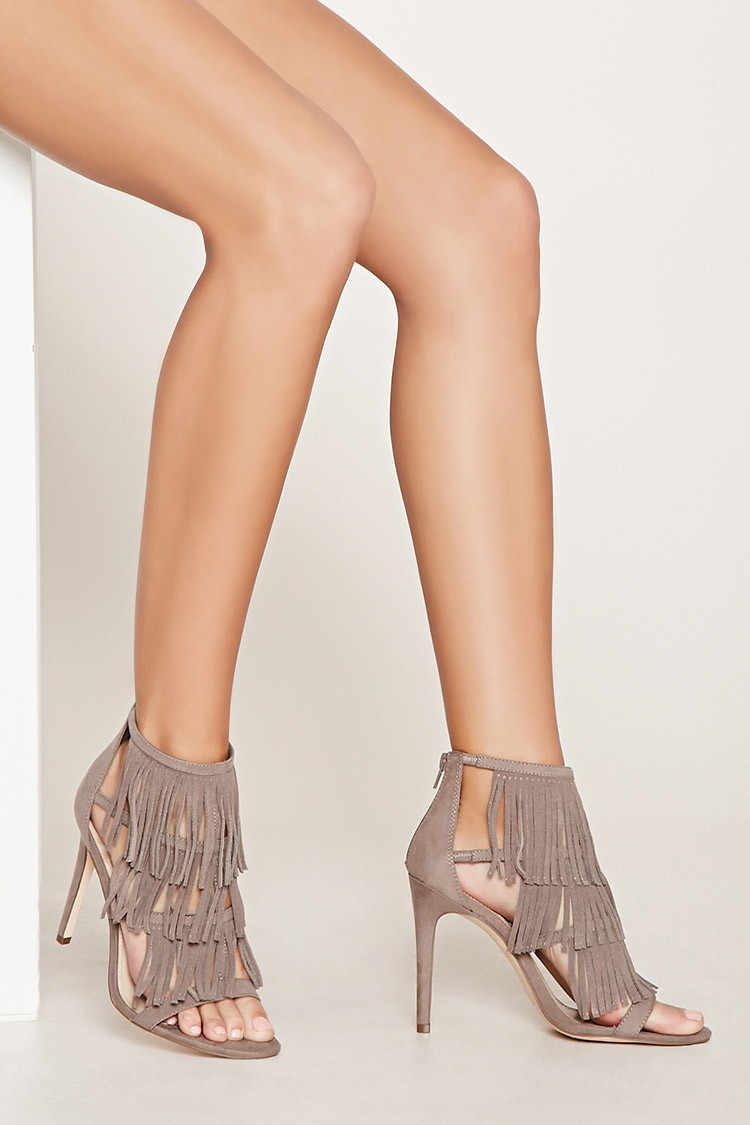 Lyst - Forever 21 Fringed Suede Heels in Gray a28f8fd11
