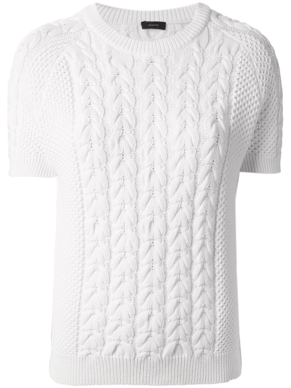 Joseph Short Sleeve Cable Knit Sweater in White | Lyst
