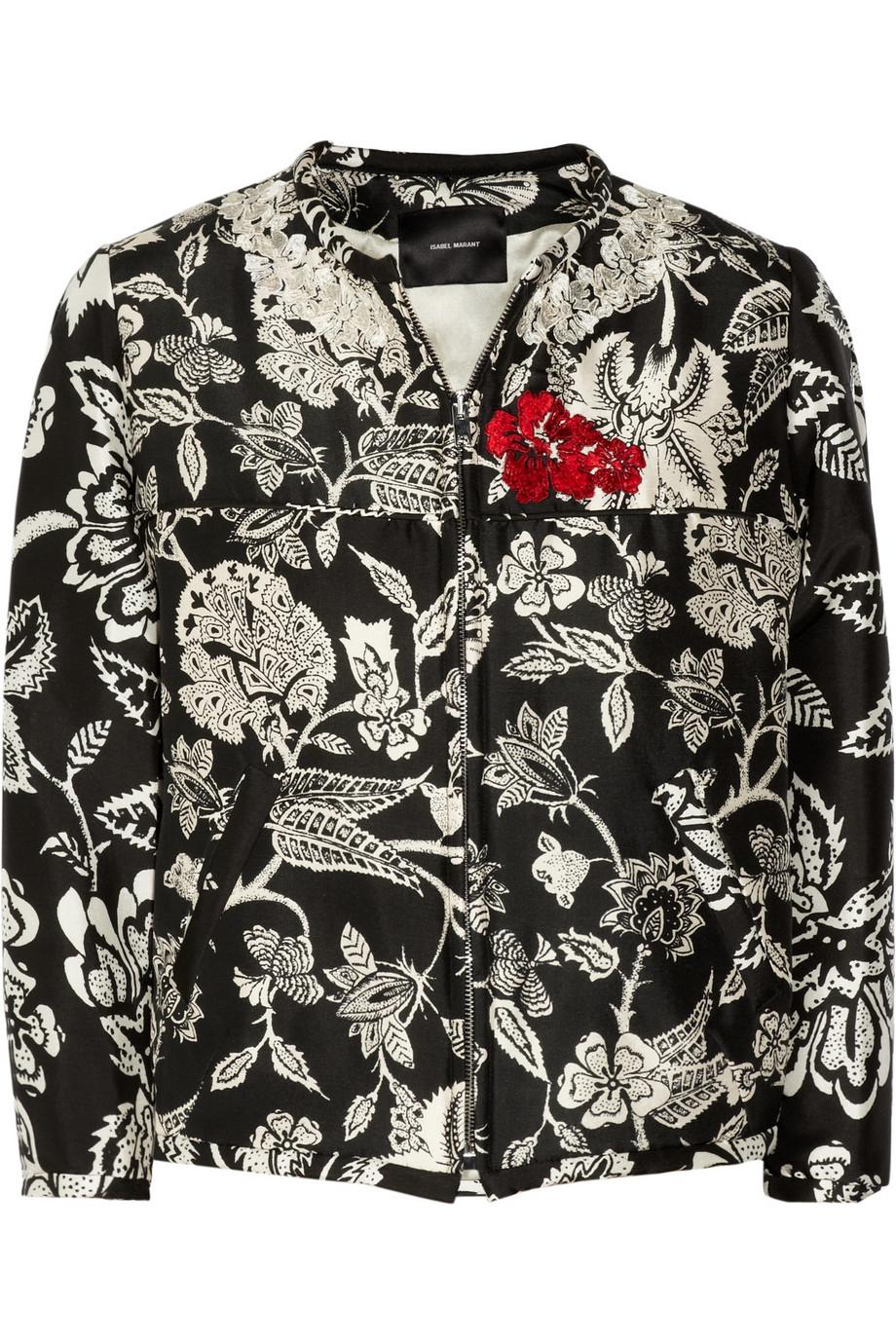 Isabel Marant Malky Embroidered Silkpoplin Bomber Jacket