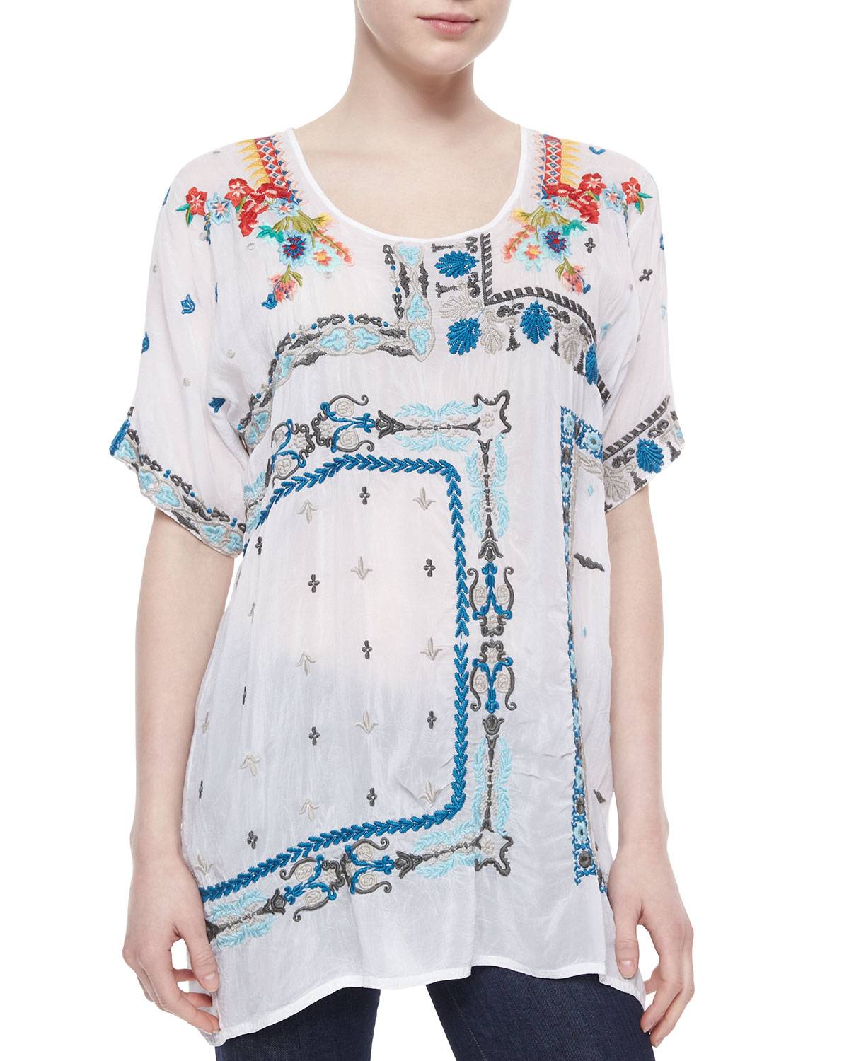 Lyst Johnny Was Danny Short Sleeve Embroidered Blouse