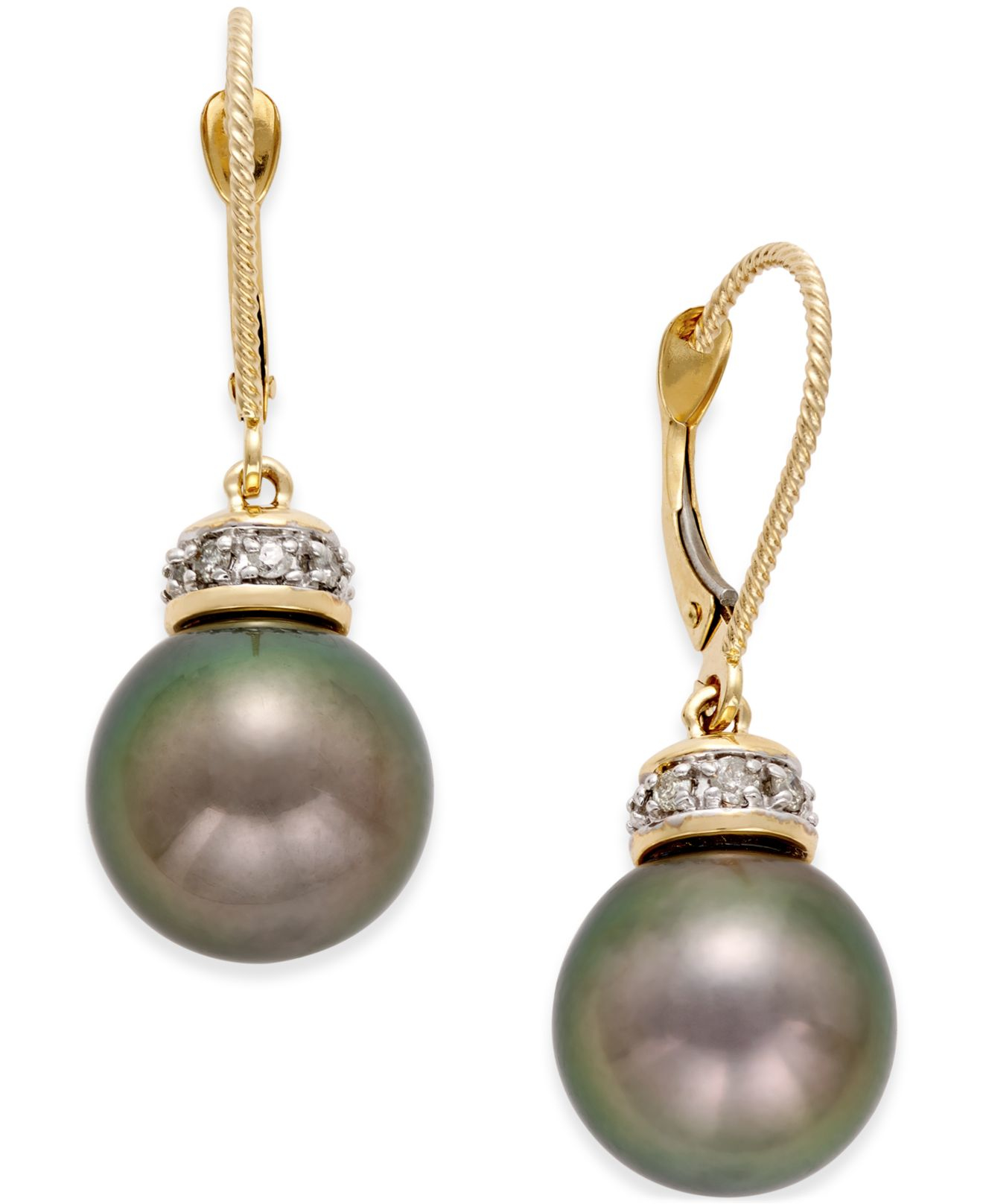 macy s pearl earrings macy s tahitian freshwater pearl 11mm and 1 4 3310
