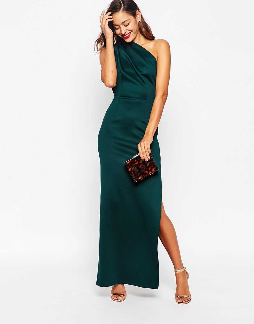 Asos One Shoulder Scuba Maxi Dress With Exposed Zip in Green | Lyst