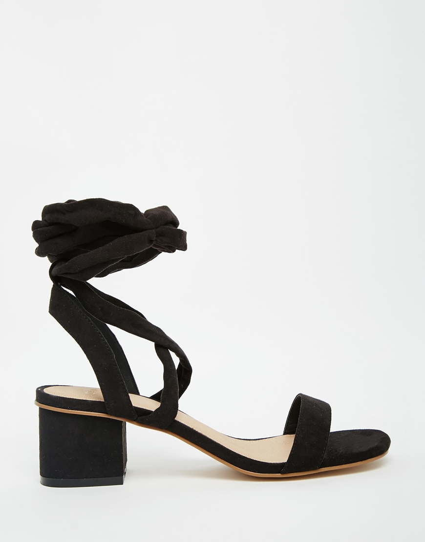 354ab5cd85f Lyst - ASOS Tessa Lace Up Heeled Sandals in Black