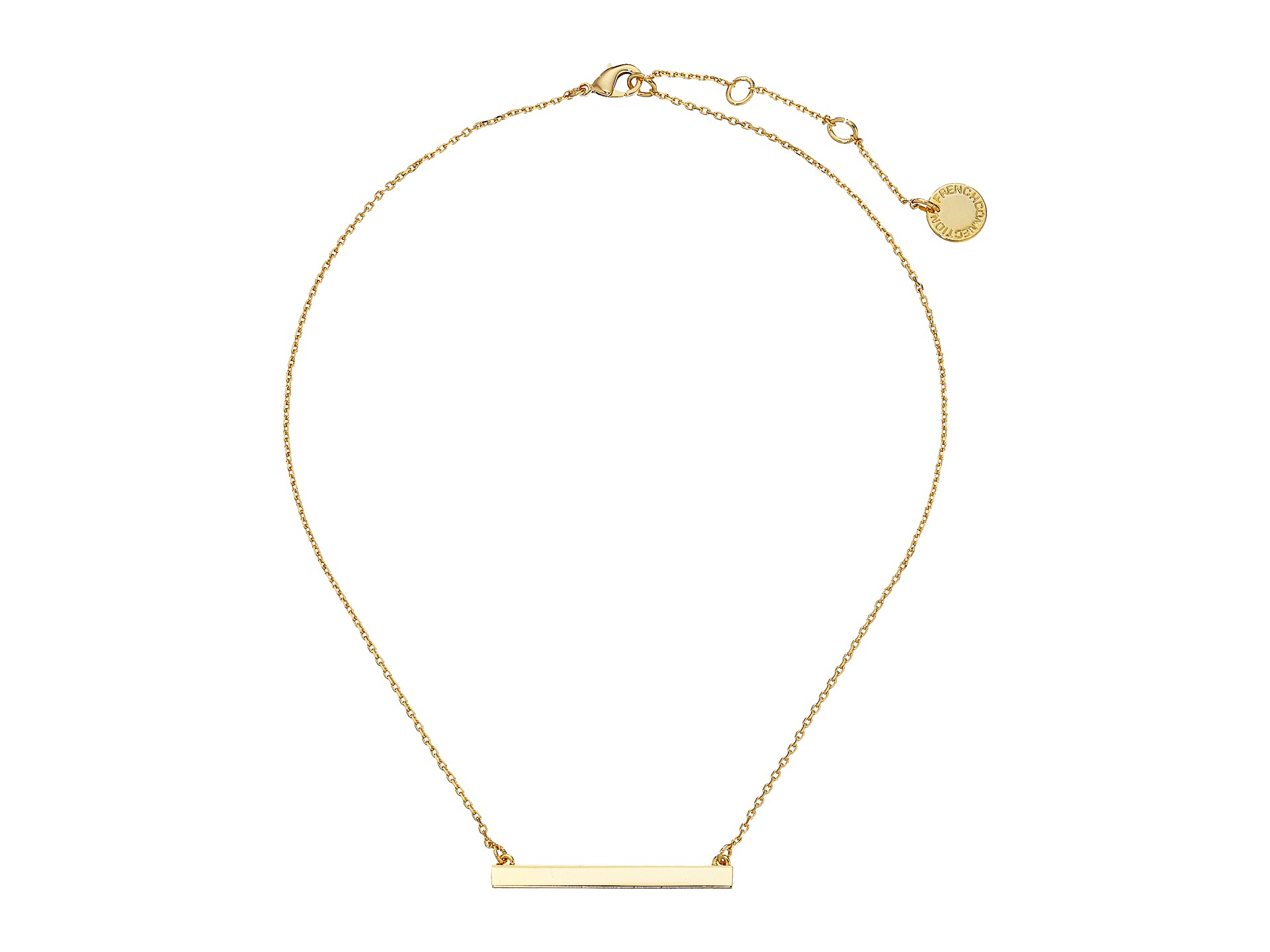 connection horizontal bar pendant necklace in gold