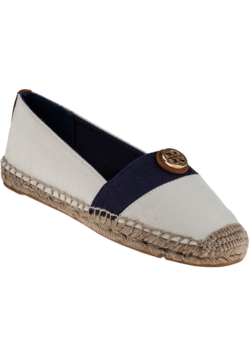 974cd63ef480 Lyst - Tory Burch Beacher Flat Espadrille Navy Ivory Fabric in Natural
