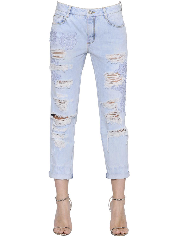 ermanno scervino boyfriend destroyed denim jeans in blue lyst. Black Bedroom Furniture Sets. Home Design Ideas