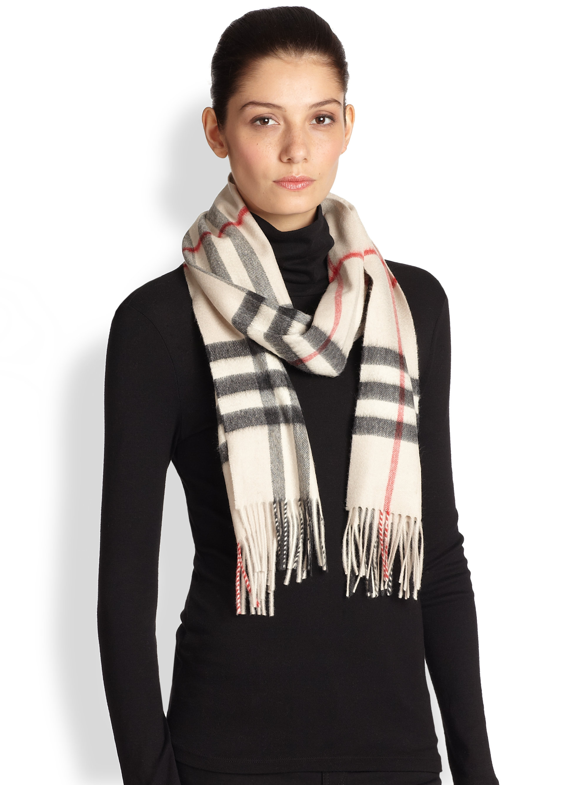 Burberry Giant Check Cashmere Scarf in Natural