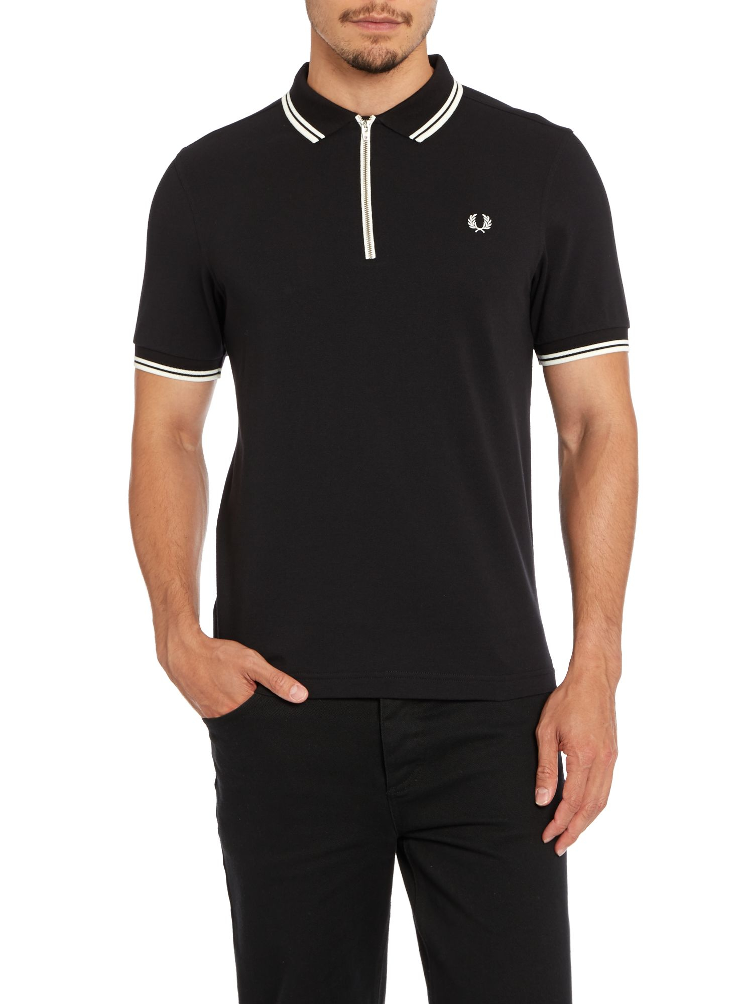 fred perry zip placket pique polo shirt in black for men. Black Bedroom Furniture Sets. Home Design Ideas