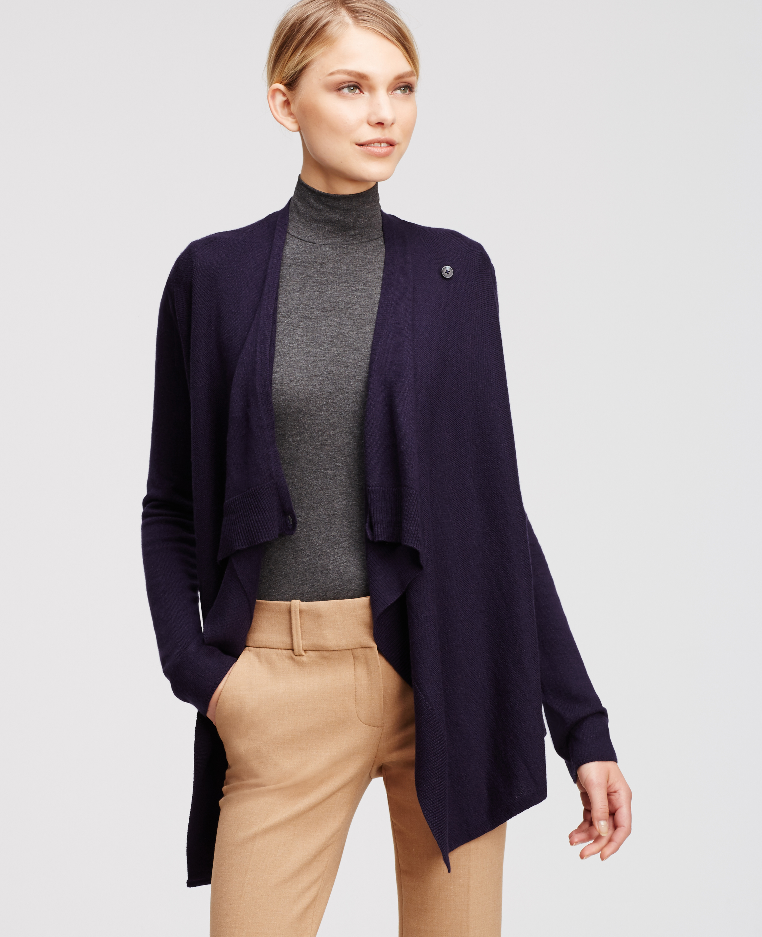 Ann taylor Wrap Sweater in Blue | Lyst