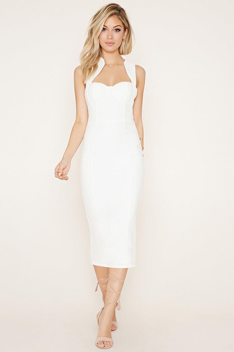 9fd1a7de517 Forever 21 Tiger Mist Bodycon Dress in White - Lyst