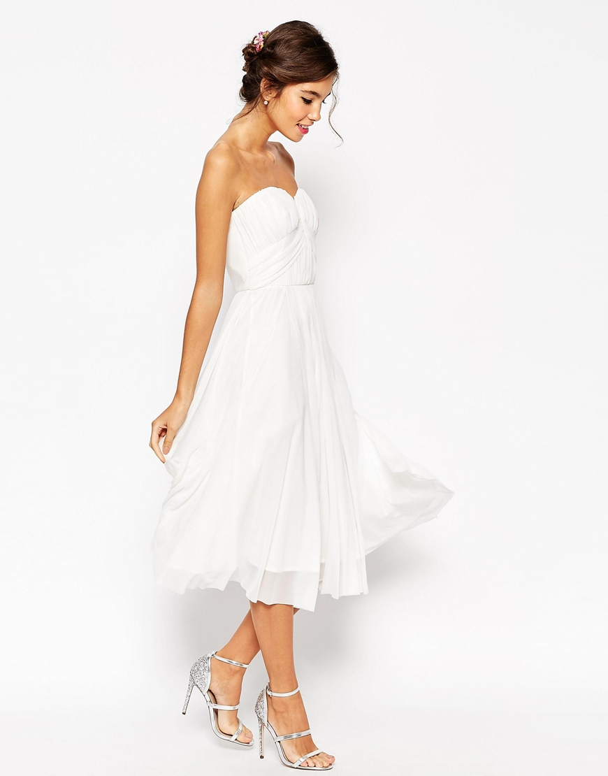 lyst asos wedding ruched bodice bandeau midi dress in white