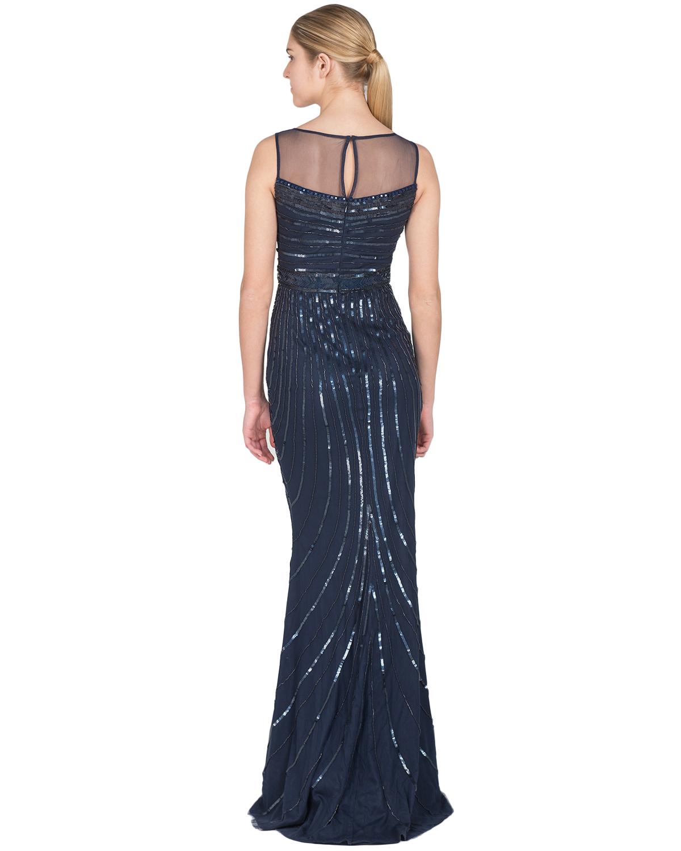 badgley mischka sheer neckline beaded evening gown in blue
