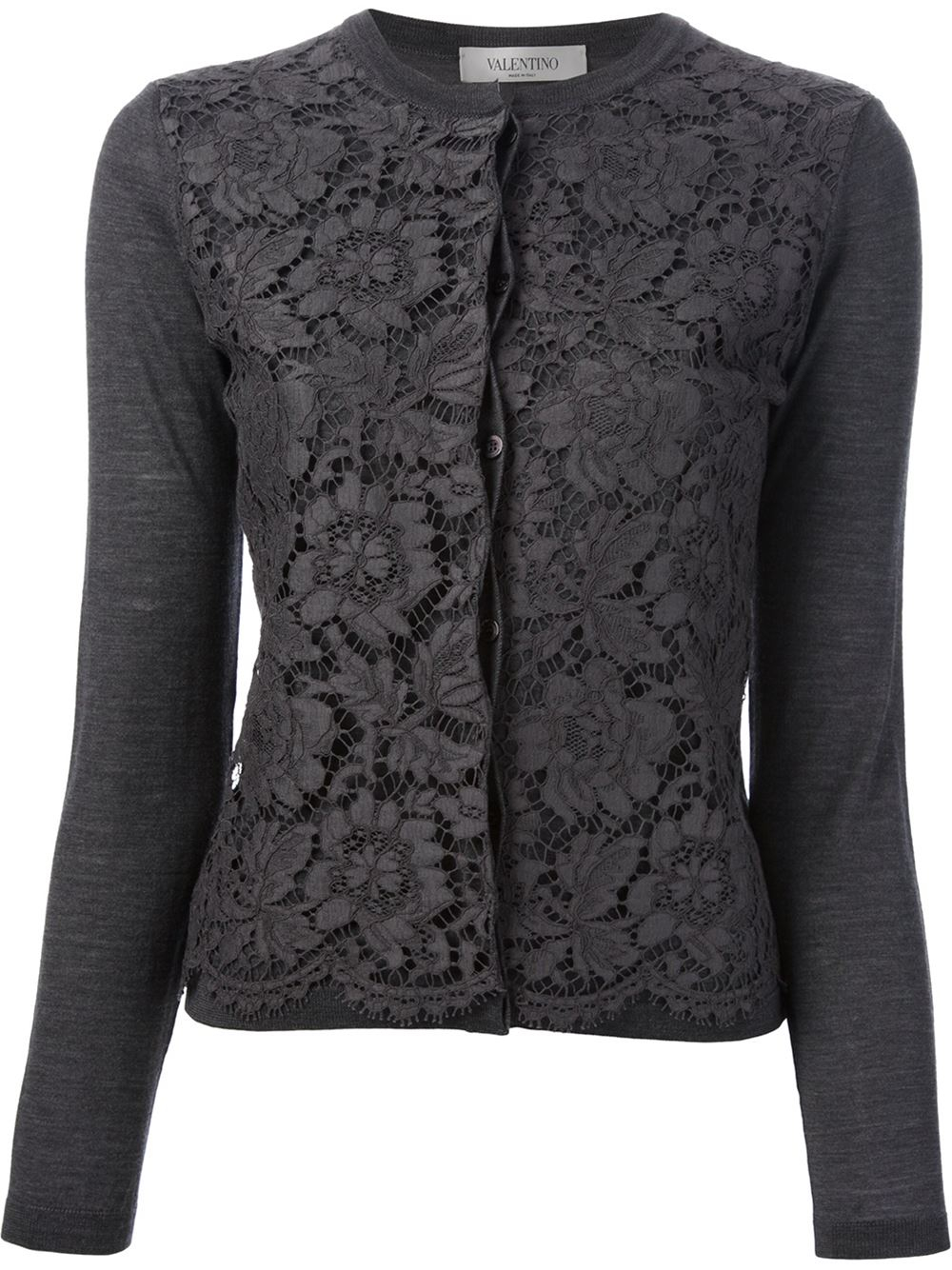 Valentino Lace Front Cardigan in Gray | Lyst