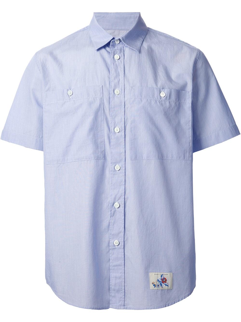 Marc Jacobs Pocket Detail Short Sleeve Shirt In Blue For