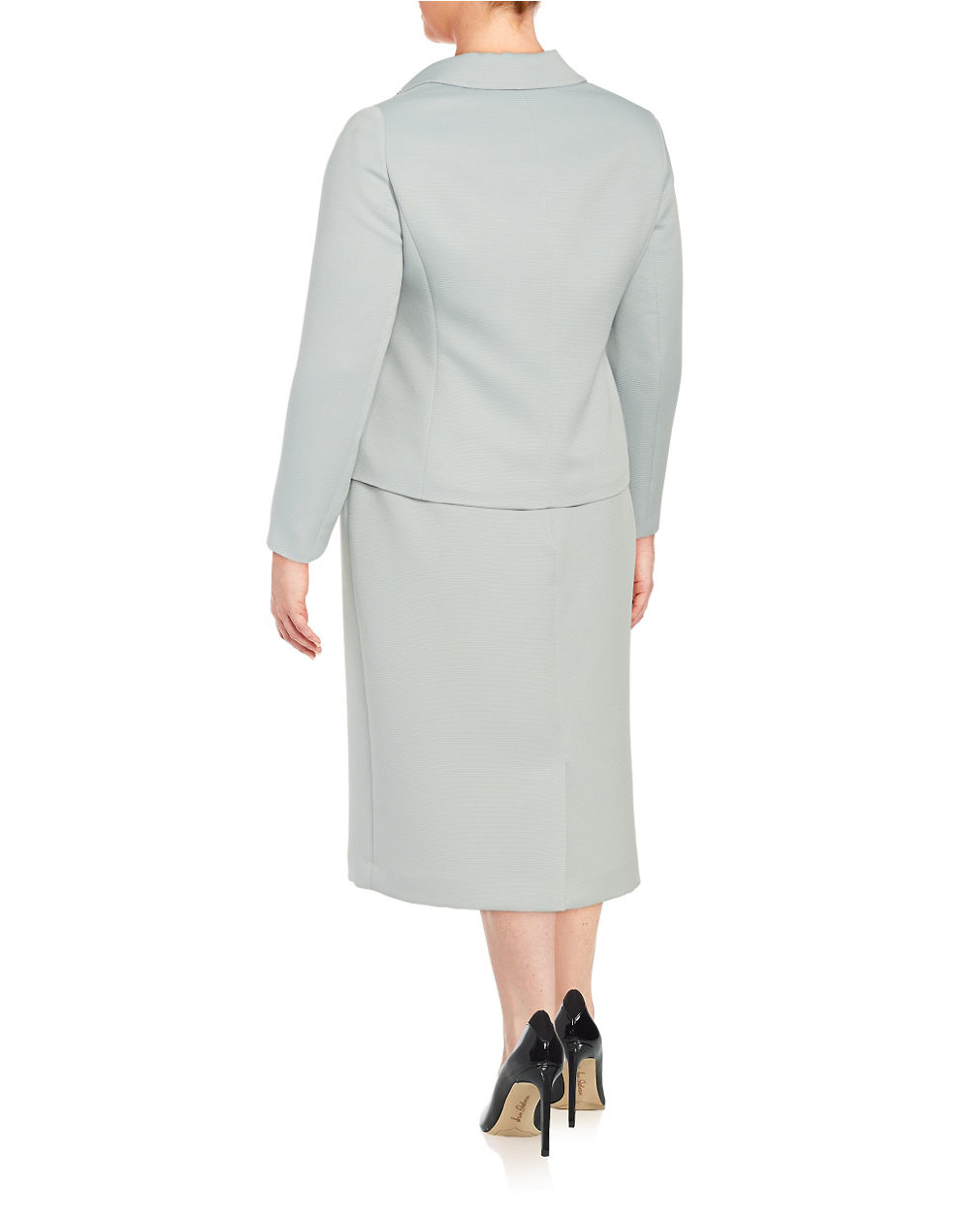 Tahari Plus Embellished Two Piece Skirt Suit Set In Gray