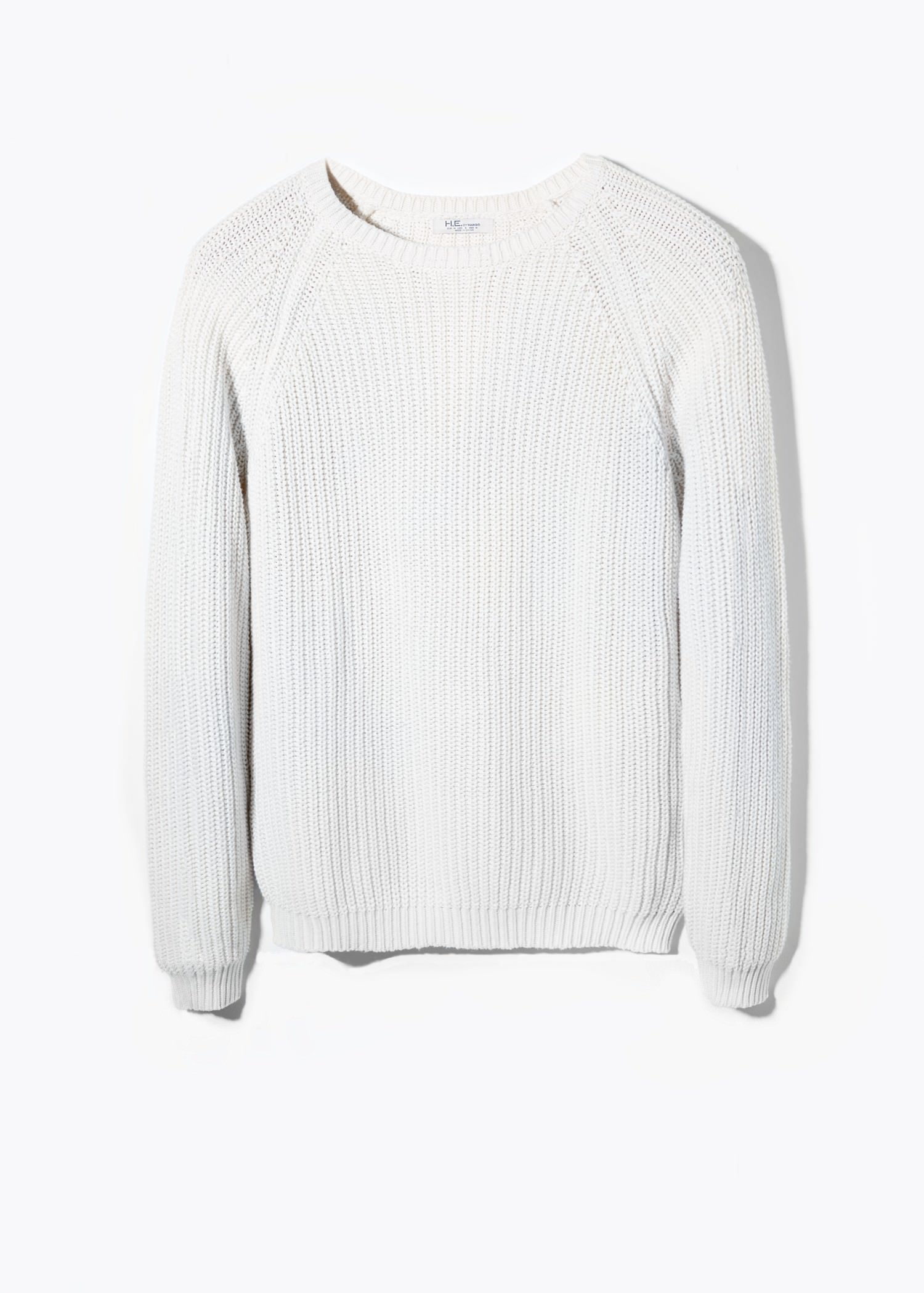 Mango Cotton Chunky-Knit Sweater in White for Men | Lyst