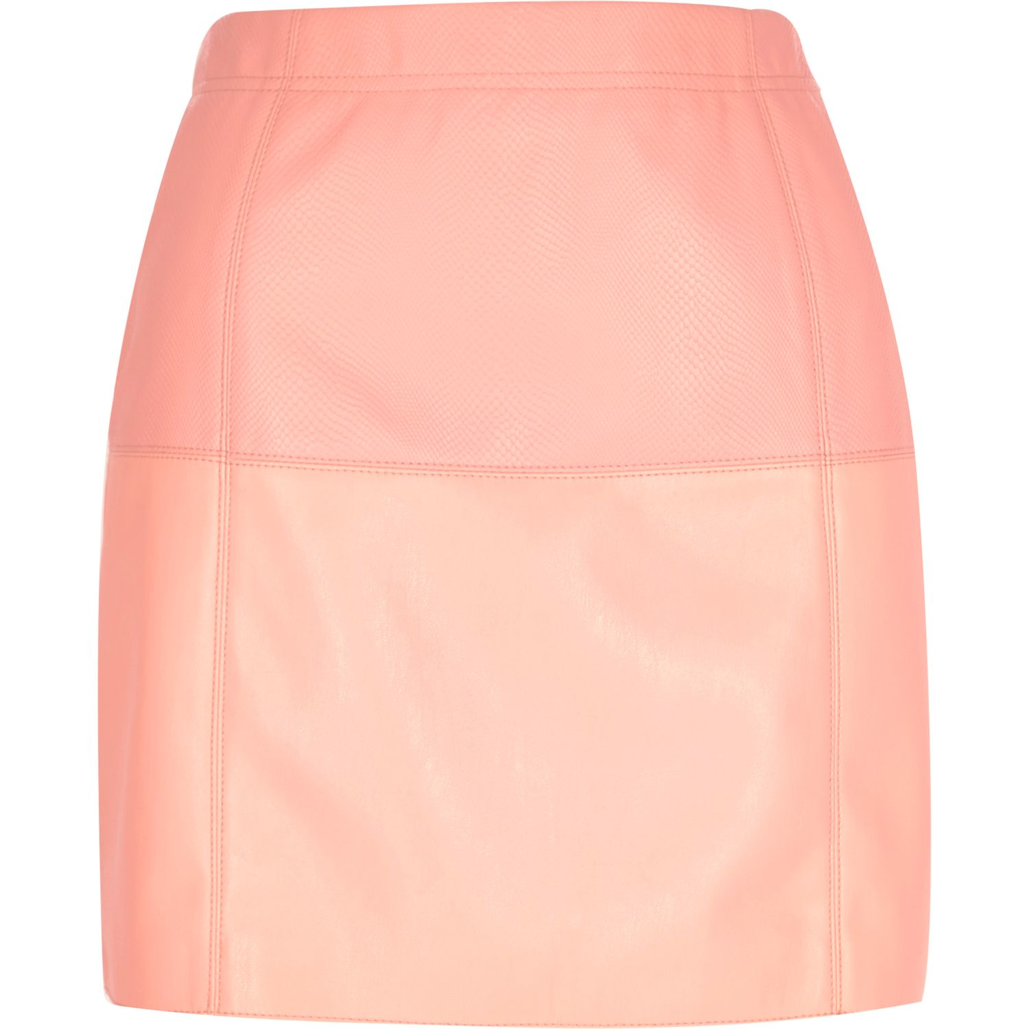 River Island White Leather Look Skirt