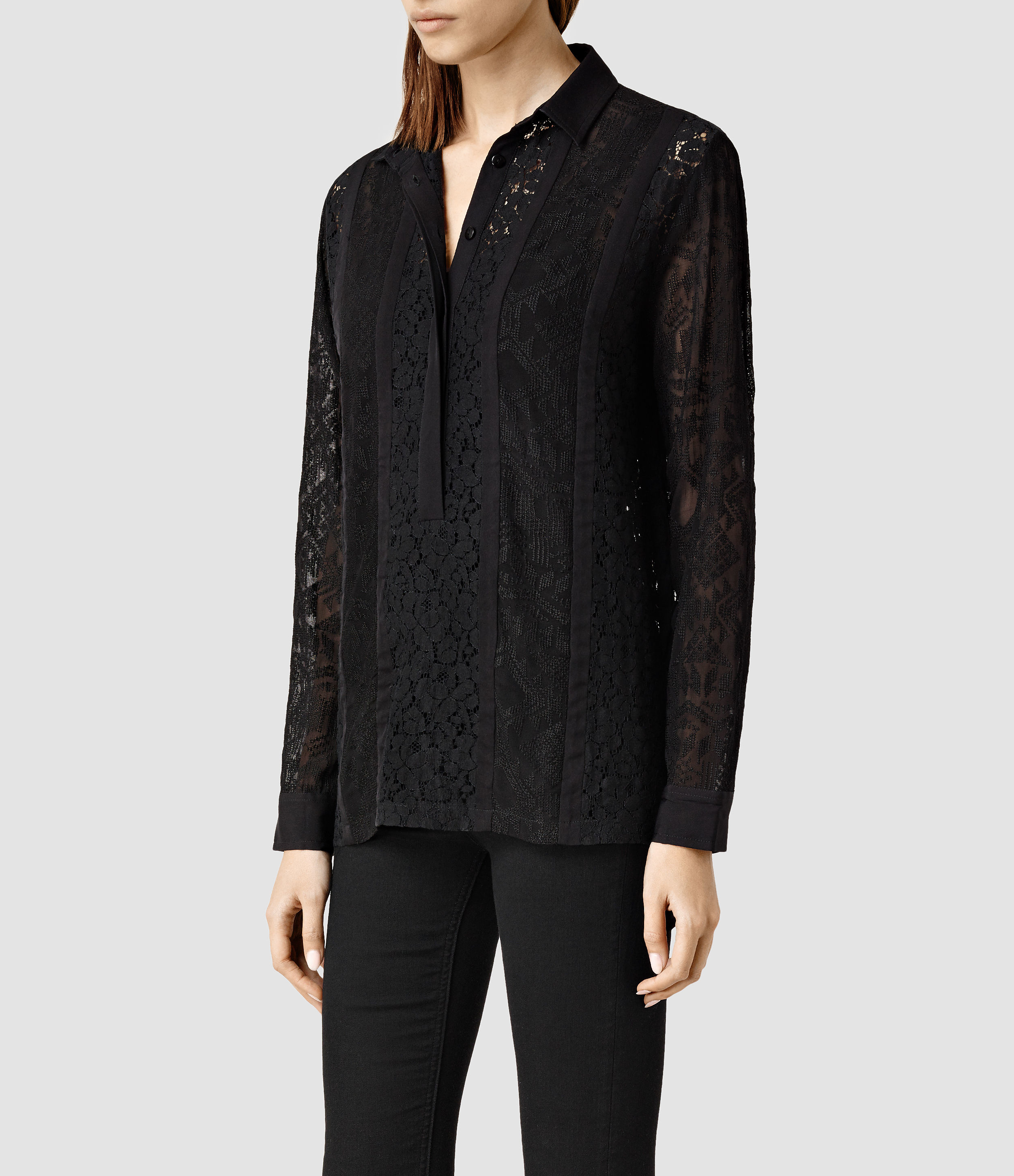 Allsaints Delliance Embroidered Leela Shirt In Black  Lyst