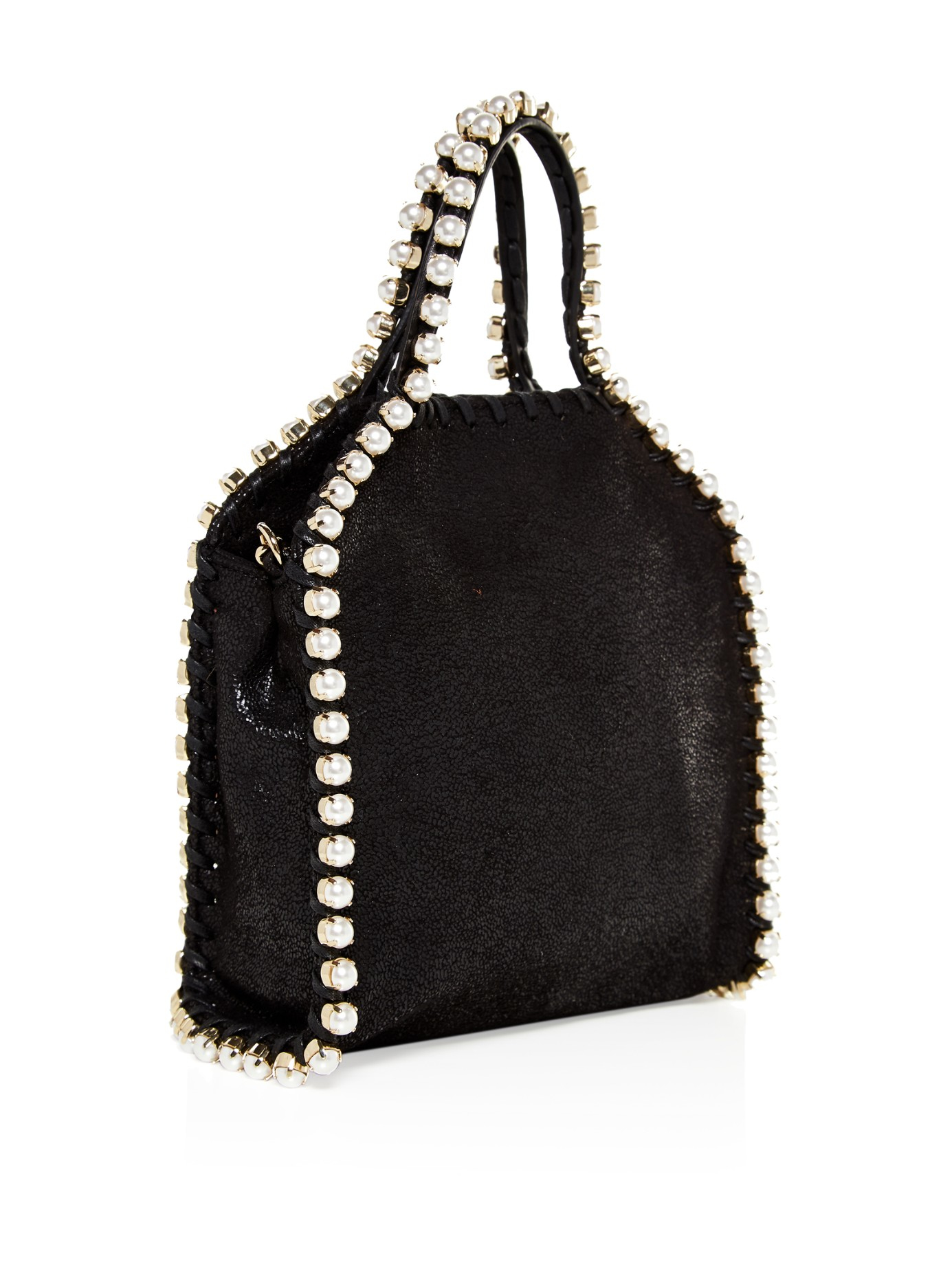 02c7939c6820 Lyst - Stella mccartney Falabella Tiny Embellished Cross-body Bag in Black
