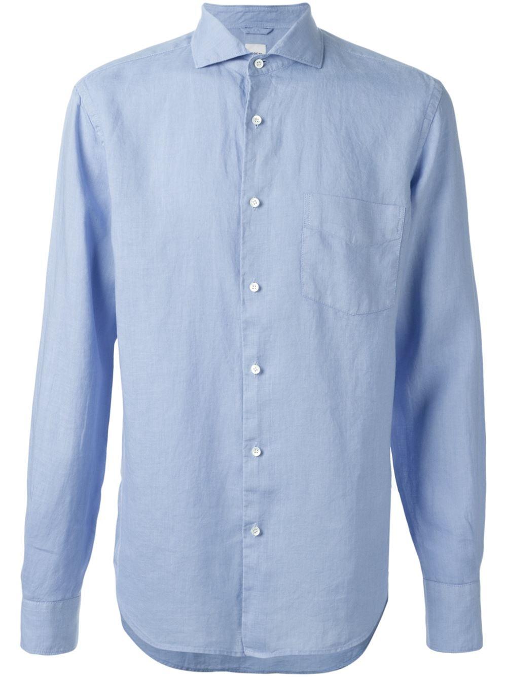 Aspesi spread collar shirt in blue for men lyst for What is a spread collar shirt