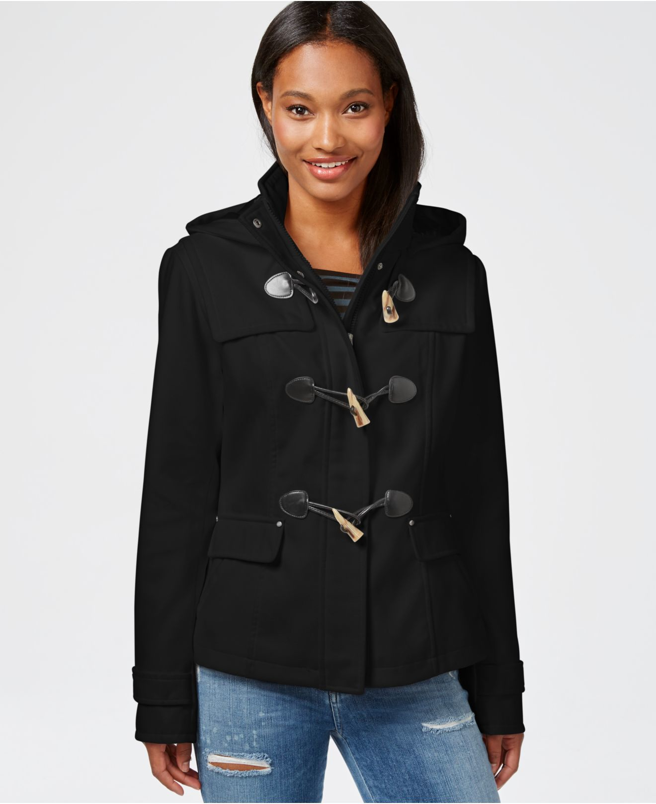 Celebrity pink Hooded Duffle Coat in Black | Lyst