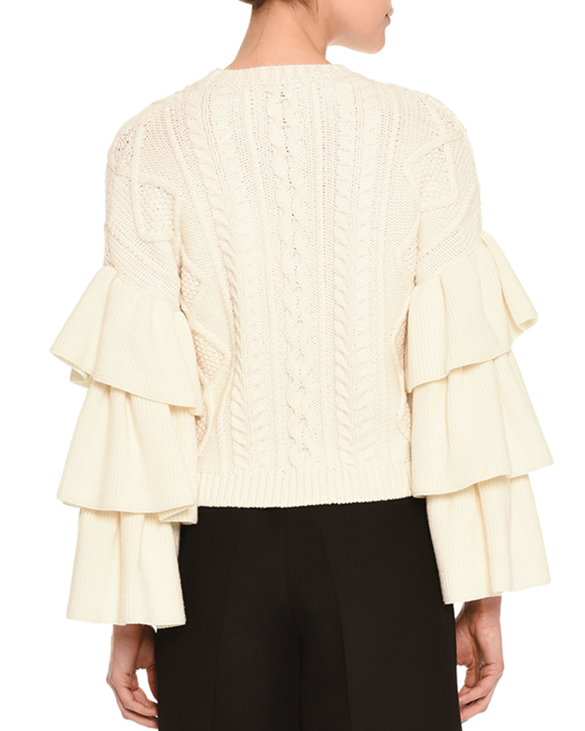 Valentino Voulant Tiered Cable-knit Sweater in Natural