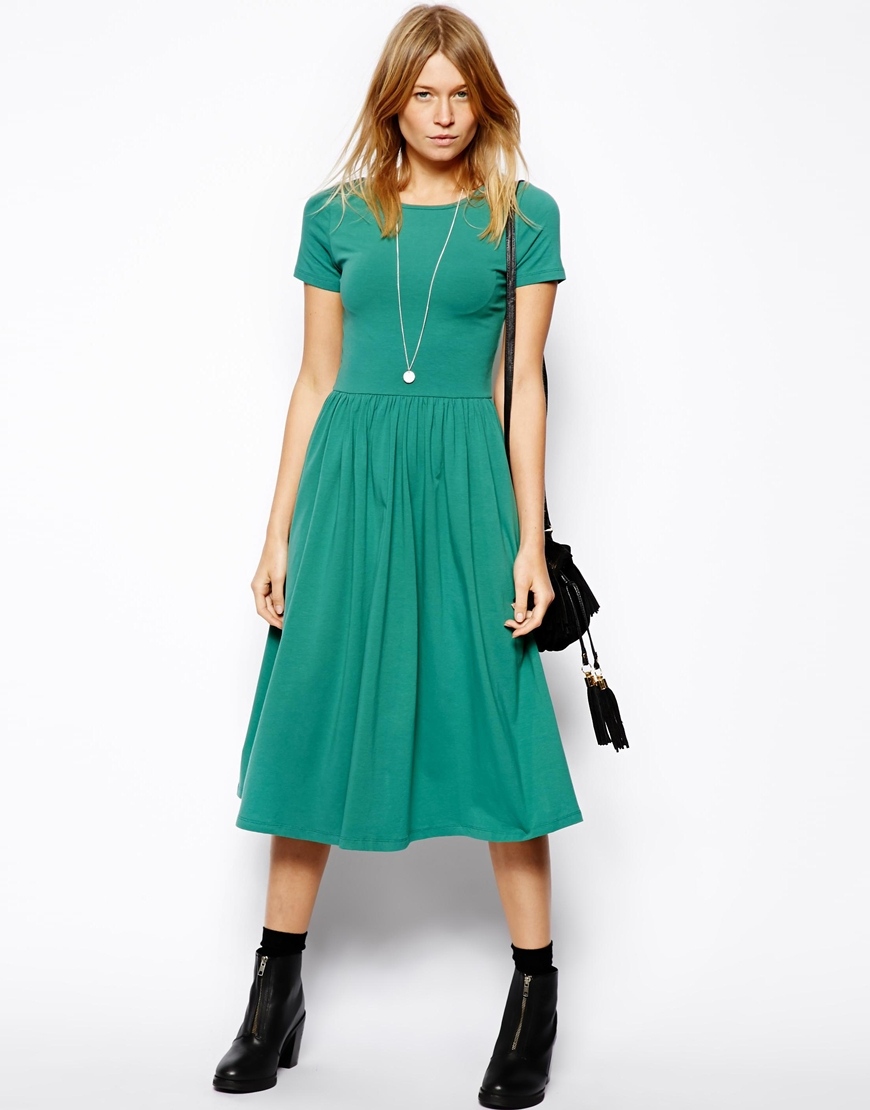 6c31dc4284cc ASOS Midi Skater Dress With Short Sleeves in Green - Lyst
