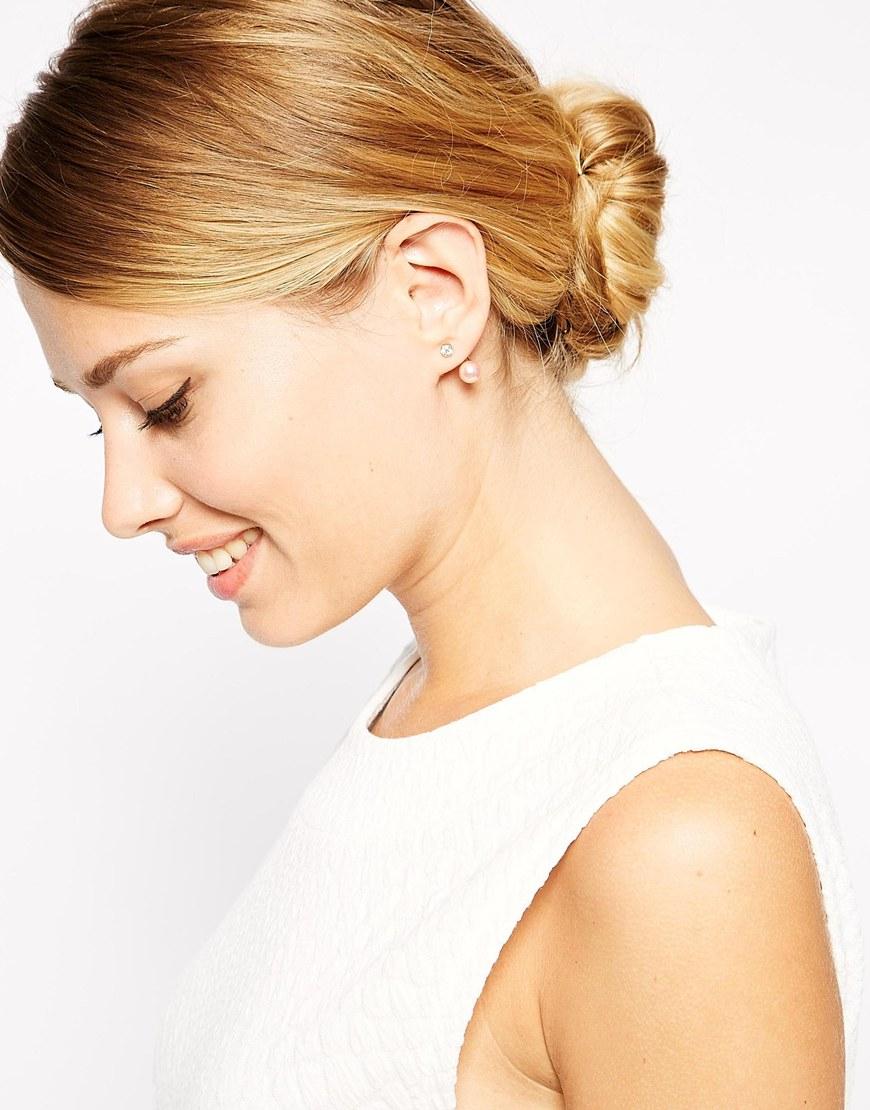 Asos Faux Pearl Crystal Swing Earrings in Pink | Lyst