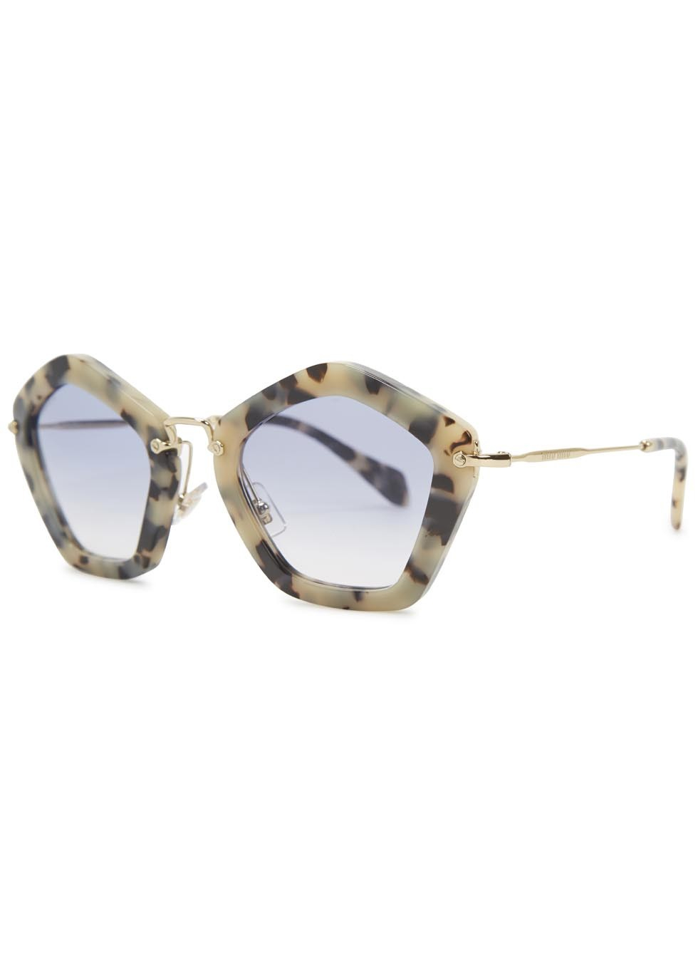 44c861d63fe Miu Miu Havana Pentagon Frame Sunglasses in Natural - Lyst