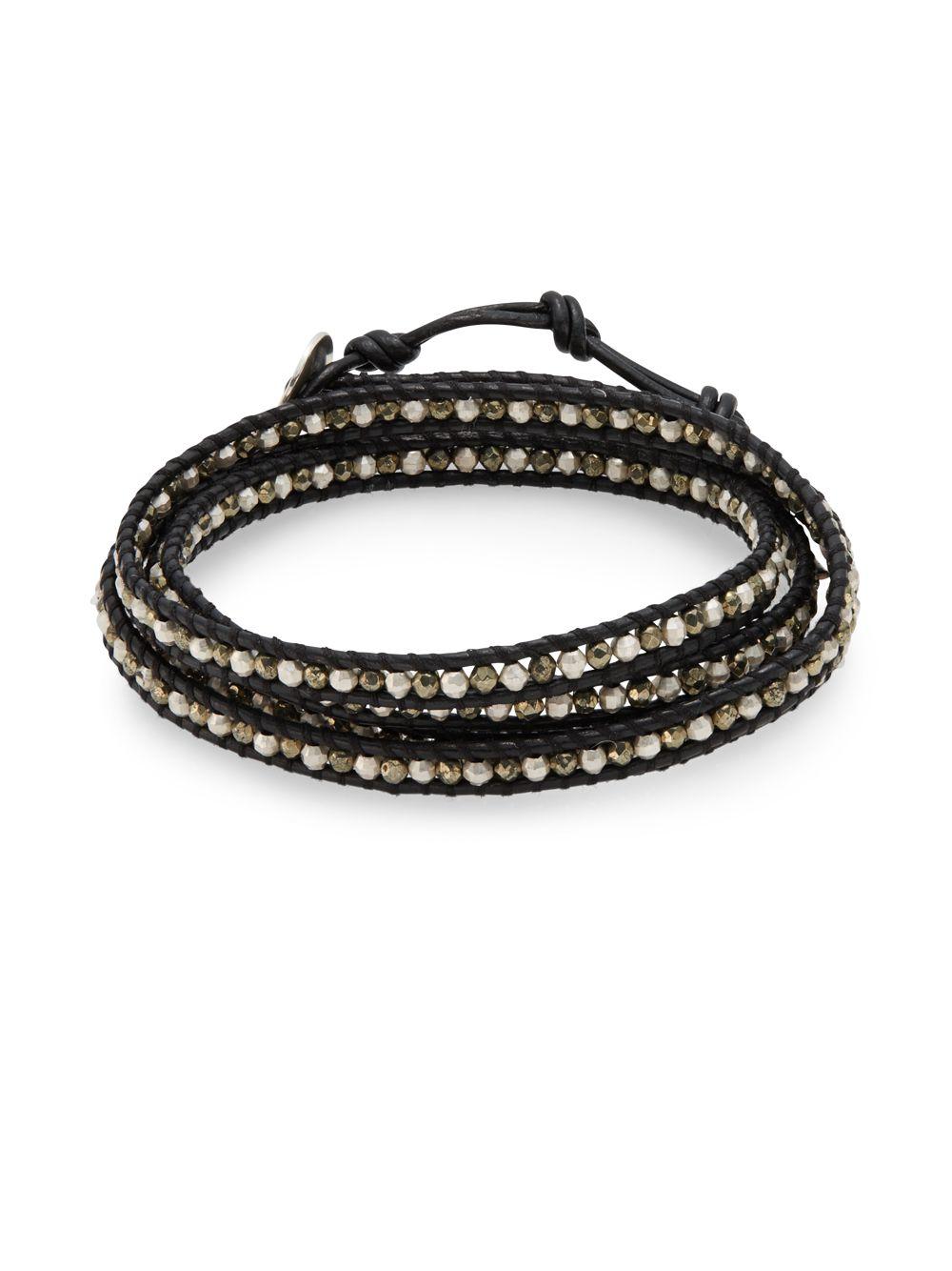 Chan Luu Pyrite Amp Sterling Silver Wrap Bracelet In