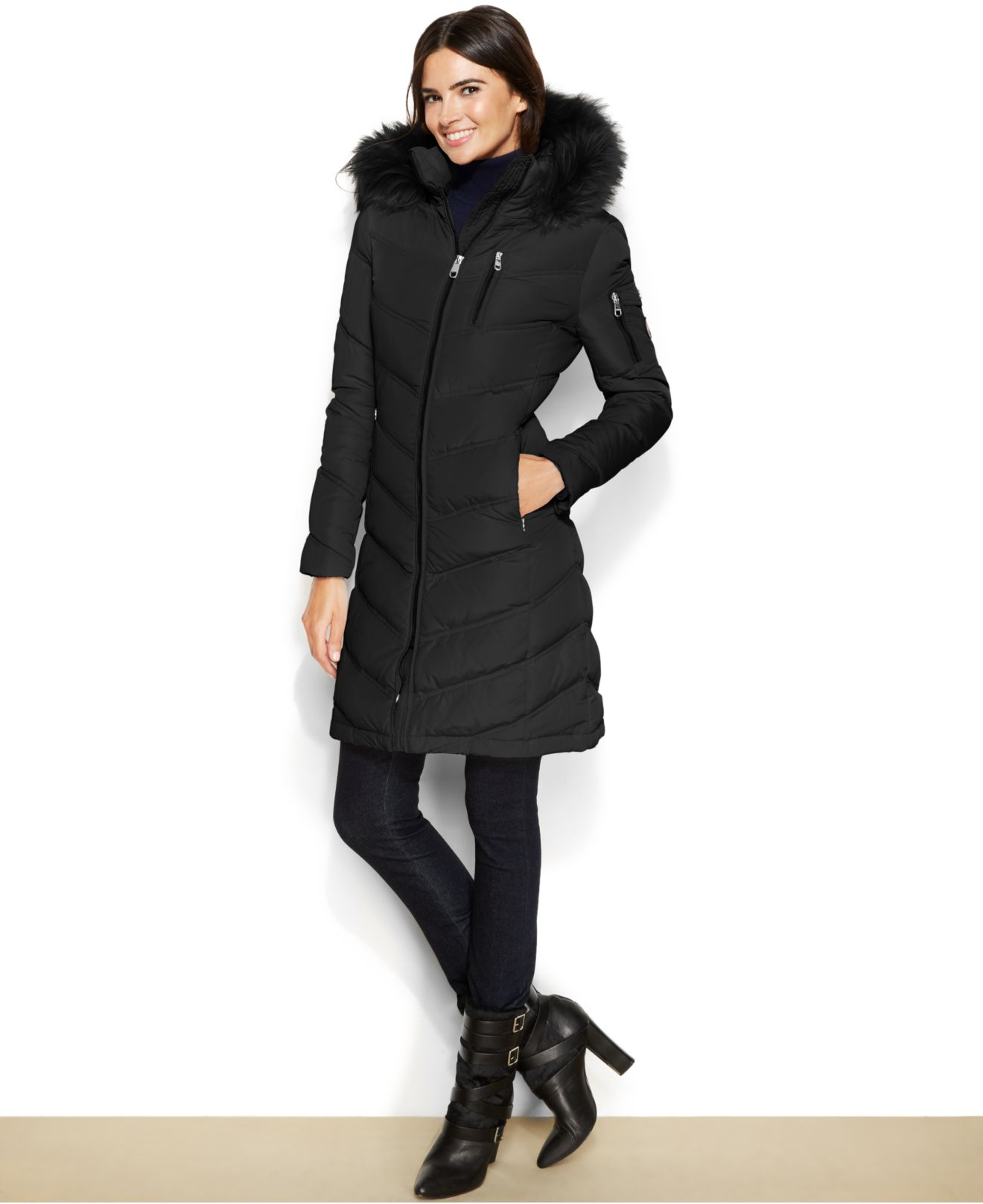 Calvin klein Faux-Fur-Trimmed Hooded Down Coat in Black | Lyst