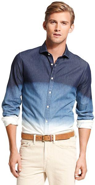tommy hilfiger new york fit dip dye denim shirt in blue. Black Bedroom Furniture Sets. Home Design Ideas