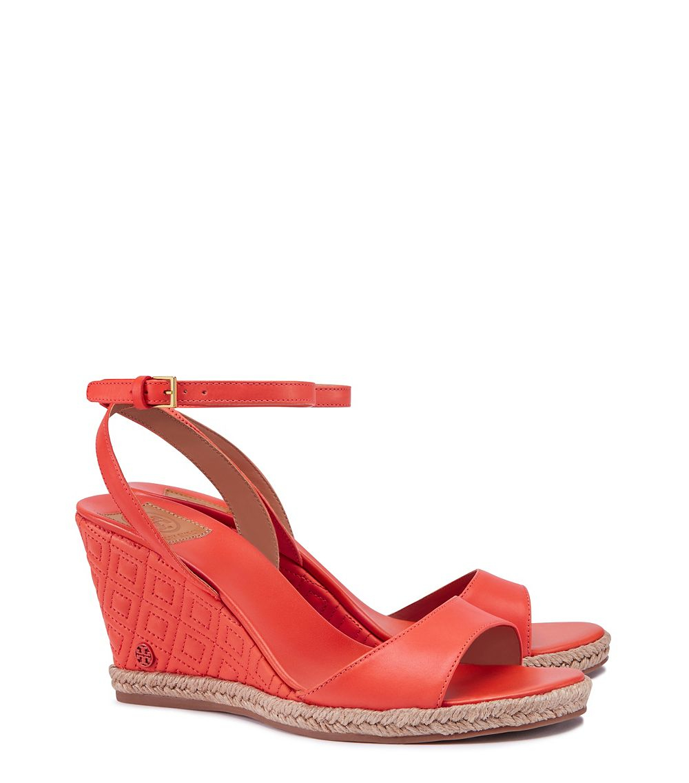 49a4cc709074 Lyst - Tory Burch Marion Quilted Espadrille Wedge Sandal in Red