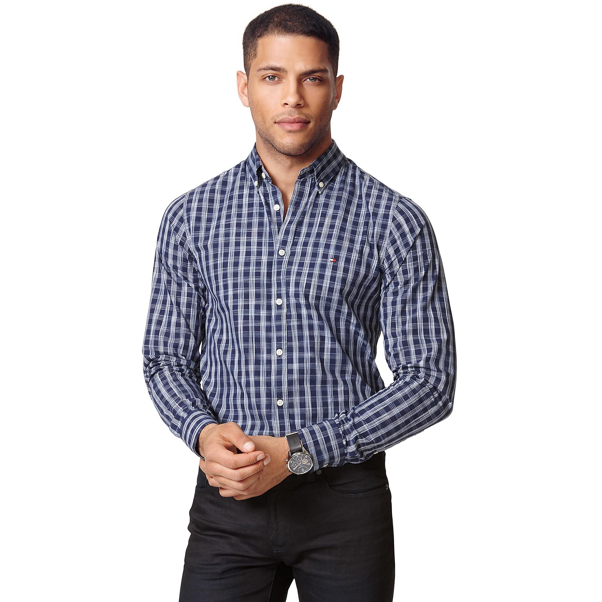Tommy Hilfiger Slim Fit Check Shirt In Blue For Men Light