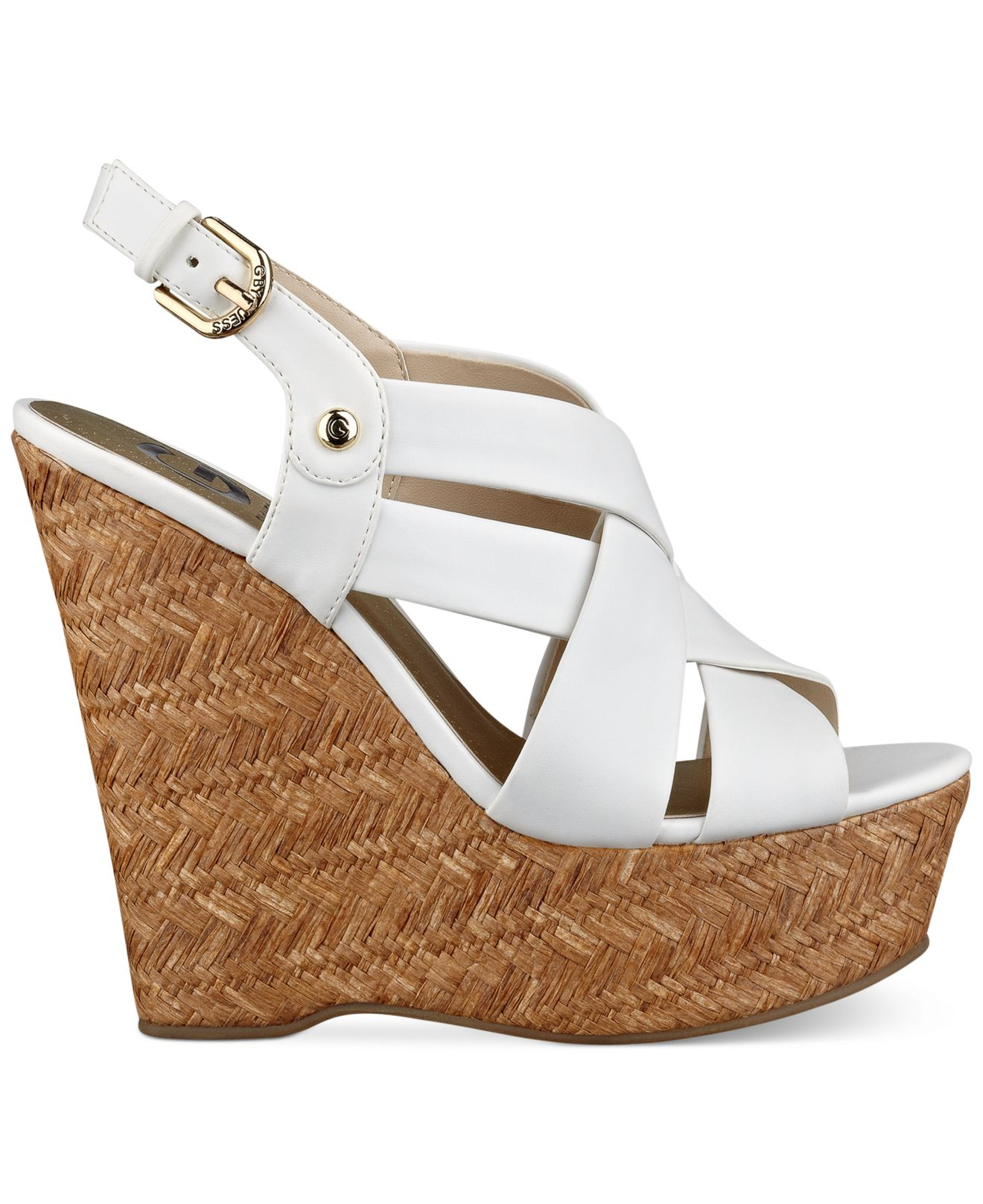 Havana Wedge Platform Sandals White Lyst Women's Guess G Whye2ed9i By In O8kn0wPX