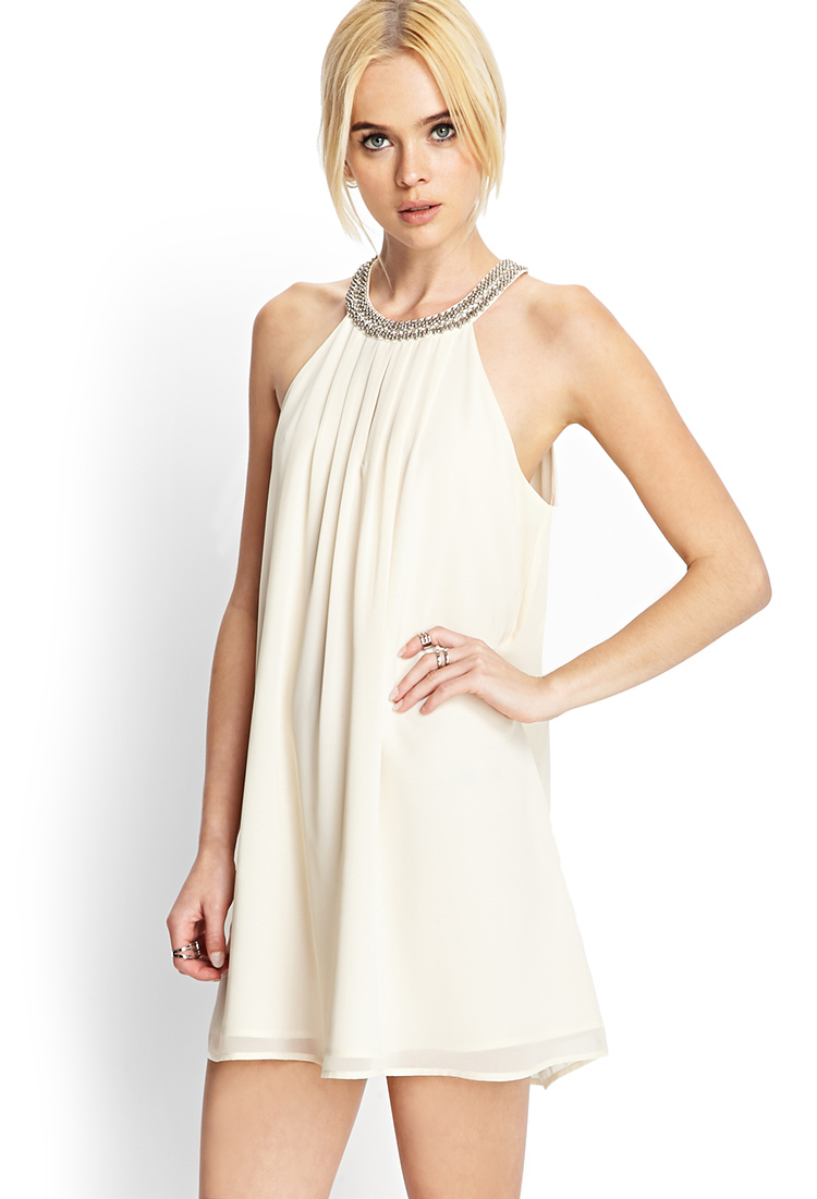 forever 21 beaded chiffon shift dress in white lyst