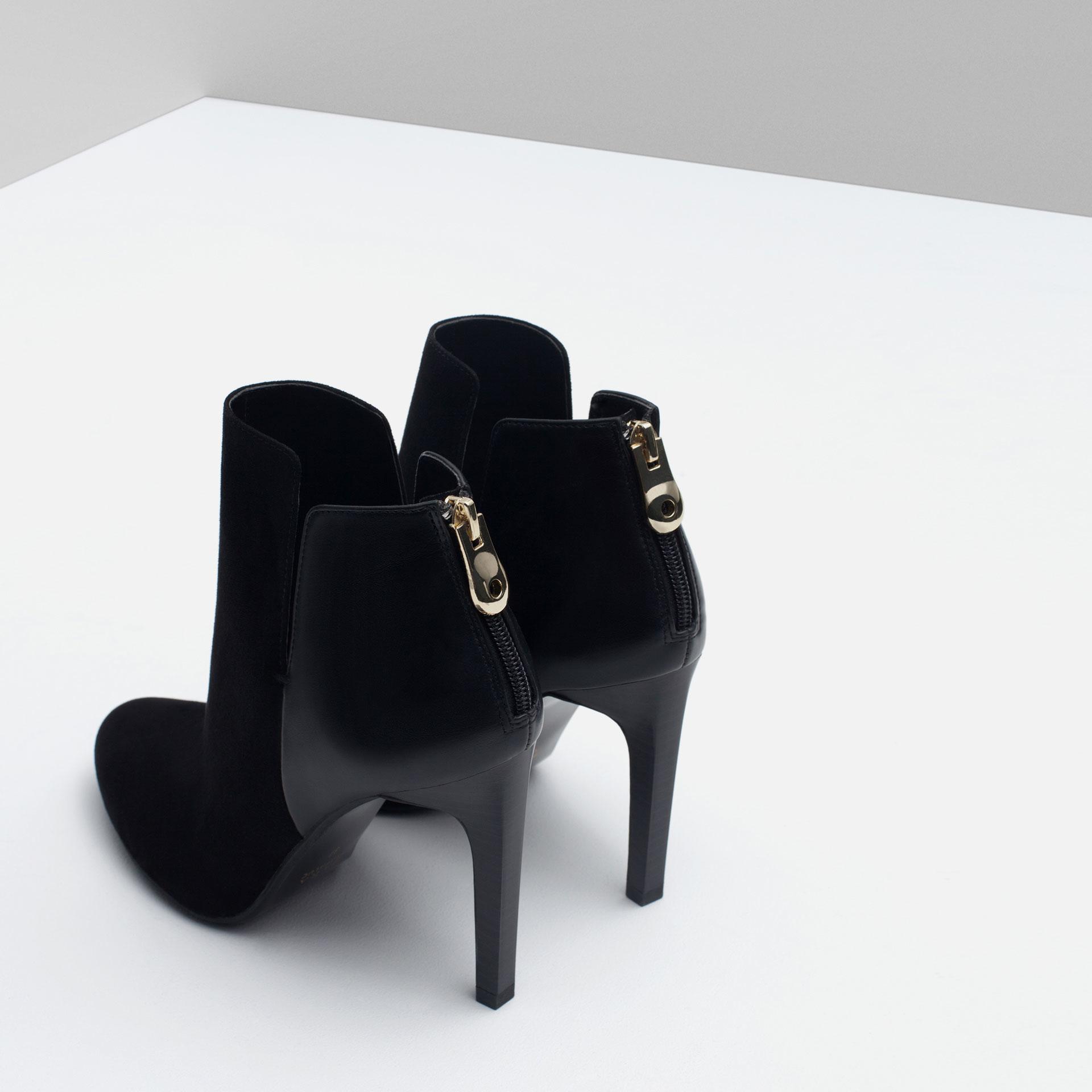 zara combined high heel bootie in black lyst