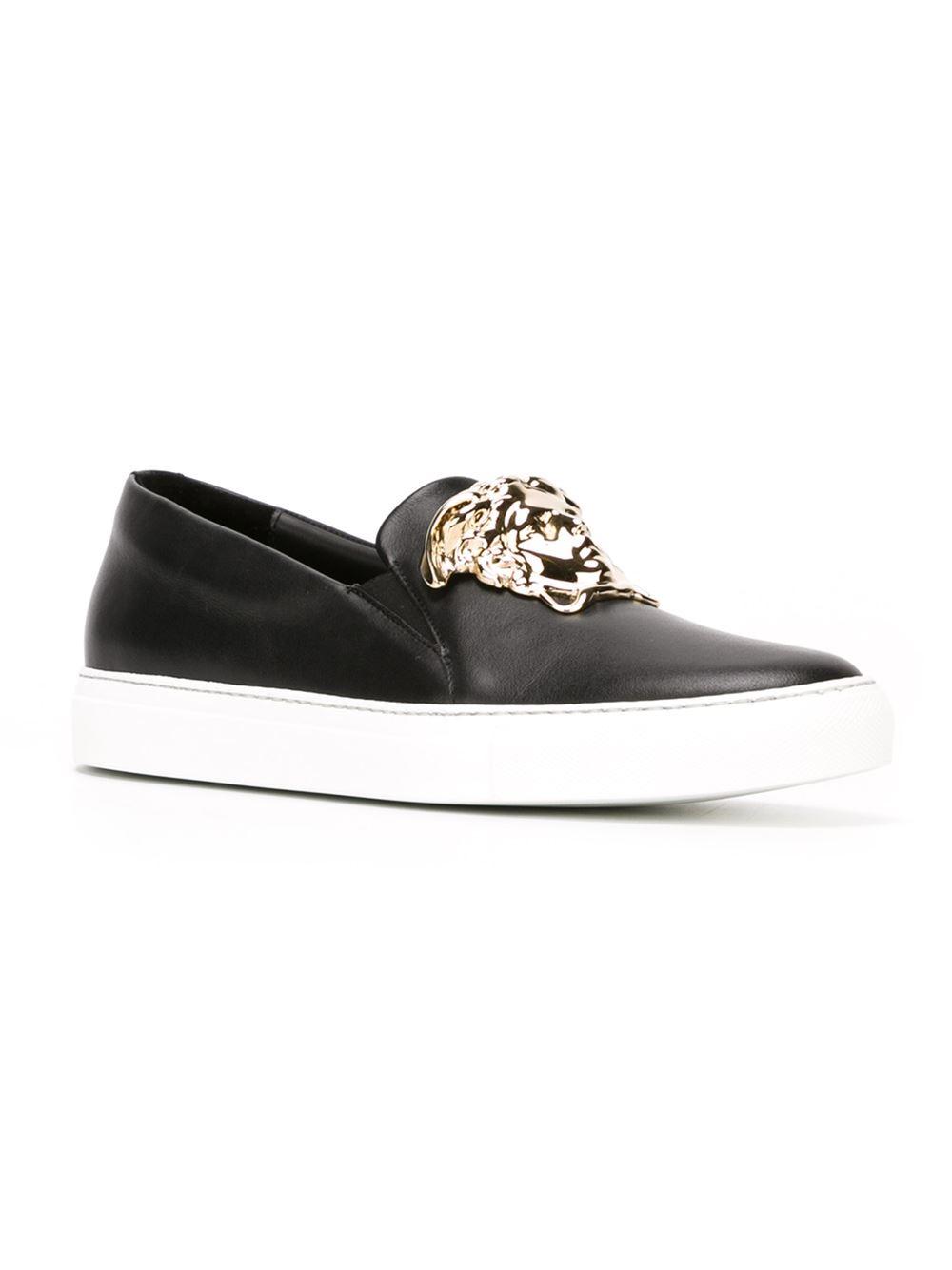 Lyst Versace Medusa Slip On Sneakers In Black