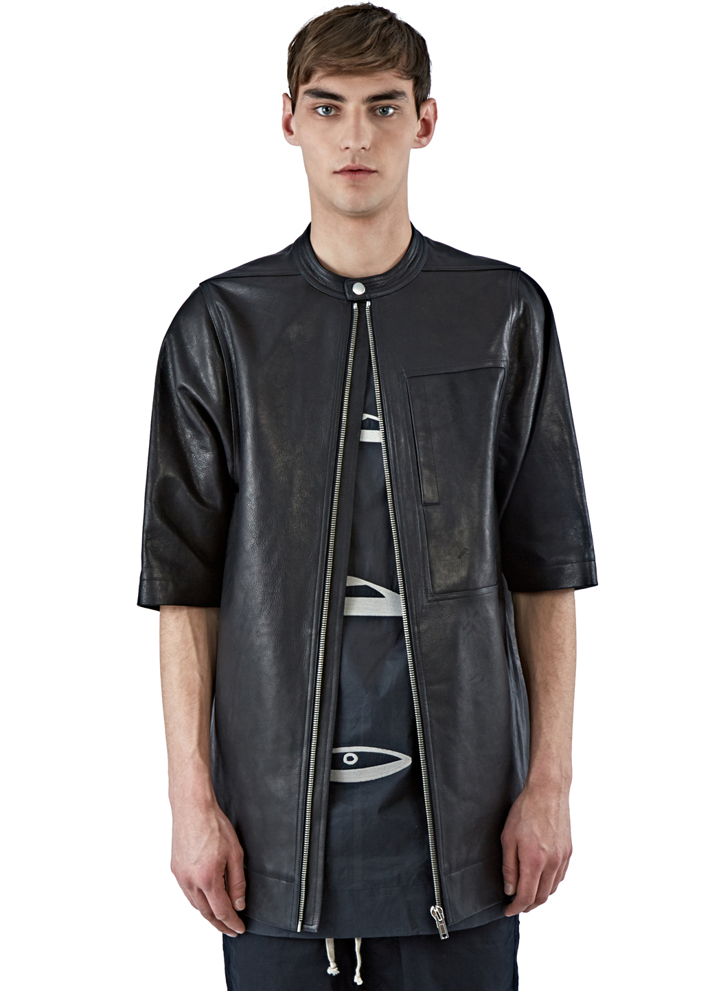 Rick owens Men's Oversized Short Sleeved Leather Jacket In Black ...