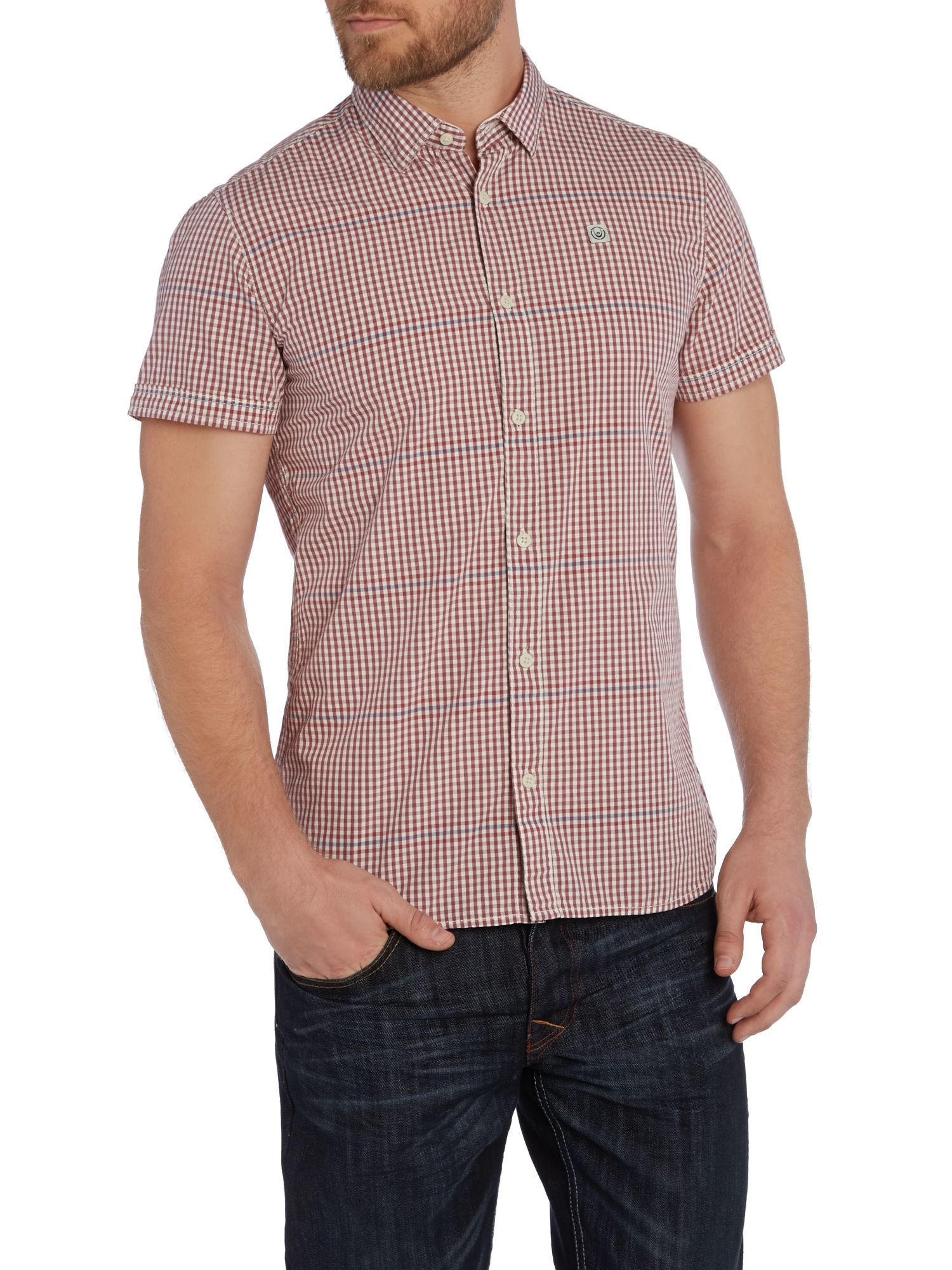 Lyst duck and cover gingham classic fit short sleeve for Mens dress shirt button covers