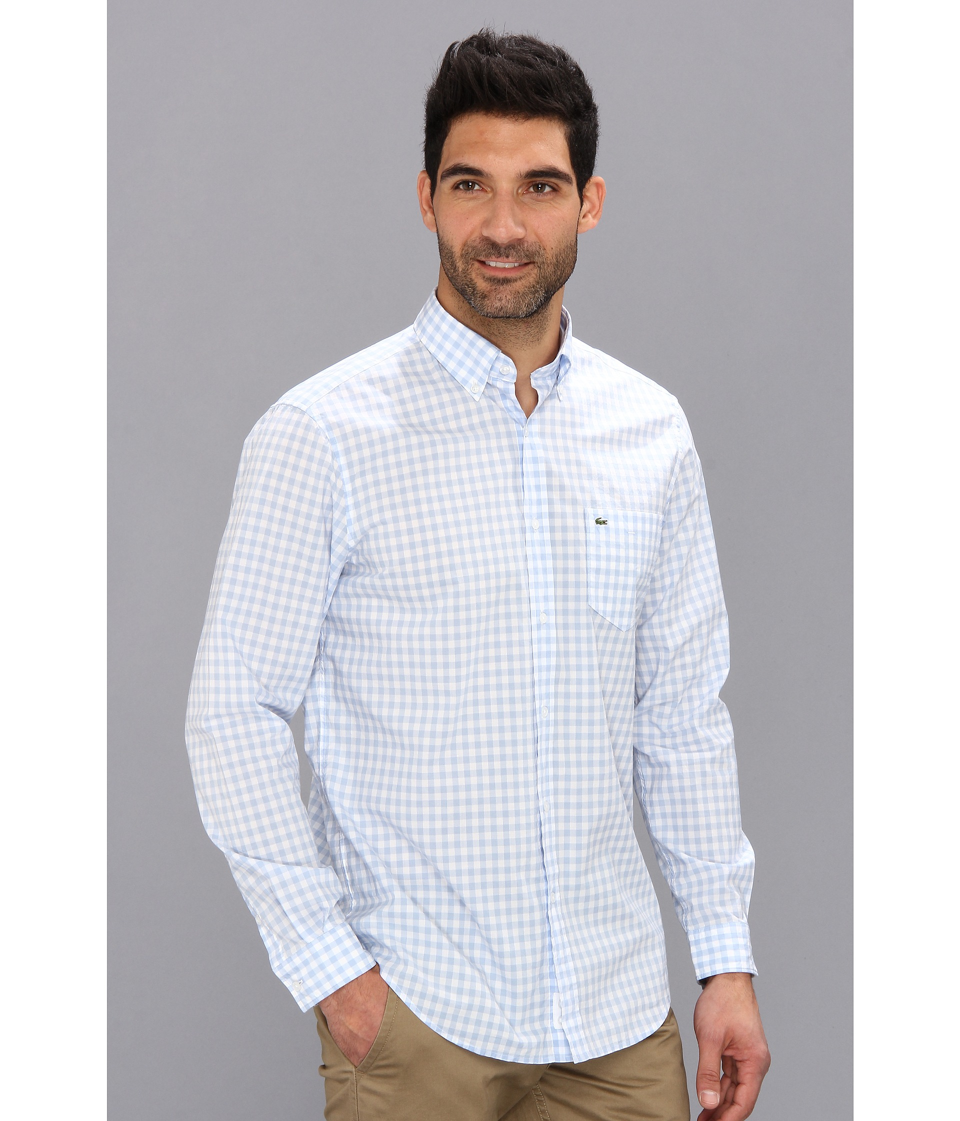 Lacoste long sleeve button down gingham check woven shirt for Blue gingham button down shirt