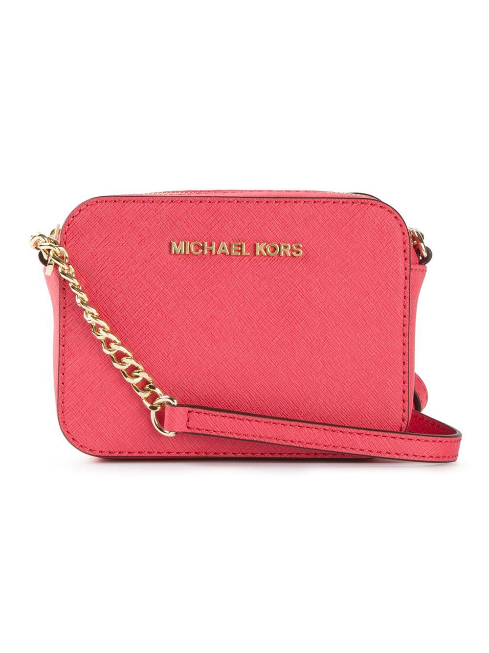 b627569967a2 Lyst - MICHAEL Michael Kors Jet Set Travel Cross-Body Bag in Red