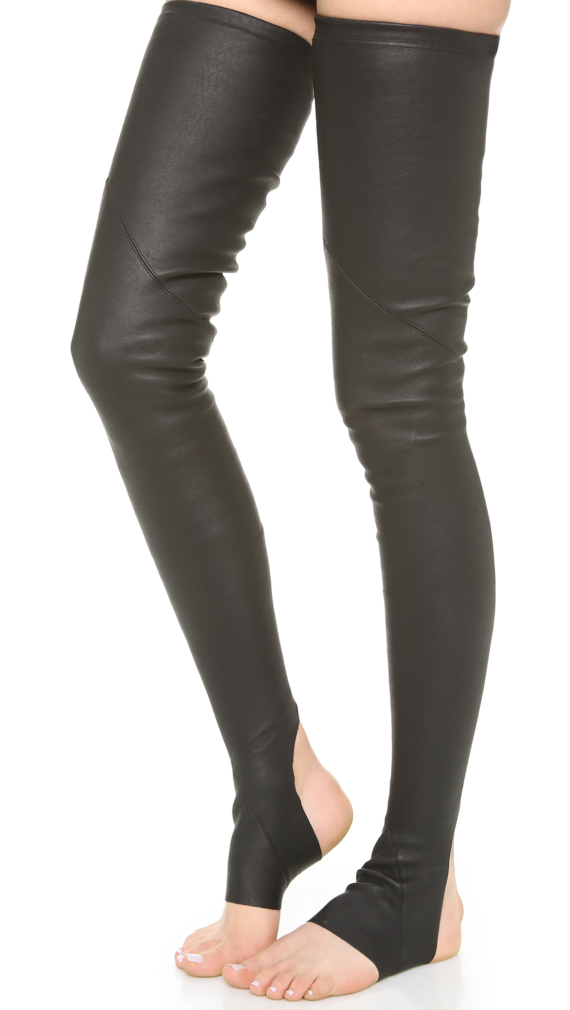 Lyst Gareth Pugh Leather Socks Black In Black