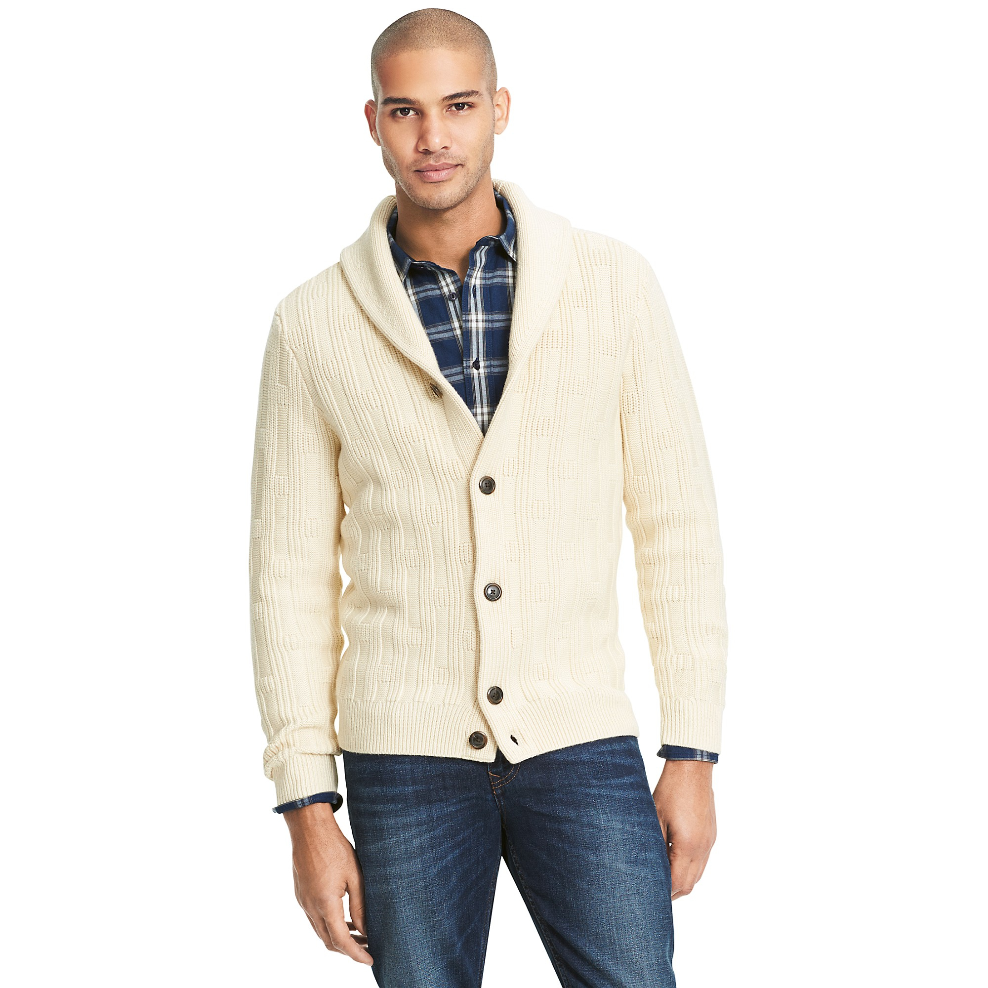 tommy hilfiger beige cableknit shawl collar cardigan for men lyst. Black Bedroom Furniture Sets. Home Design Ideas