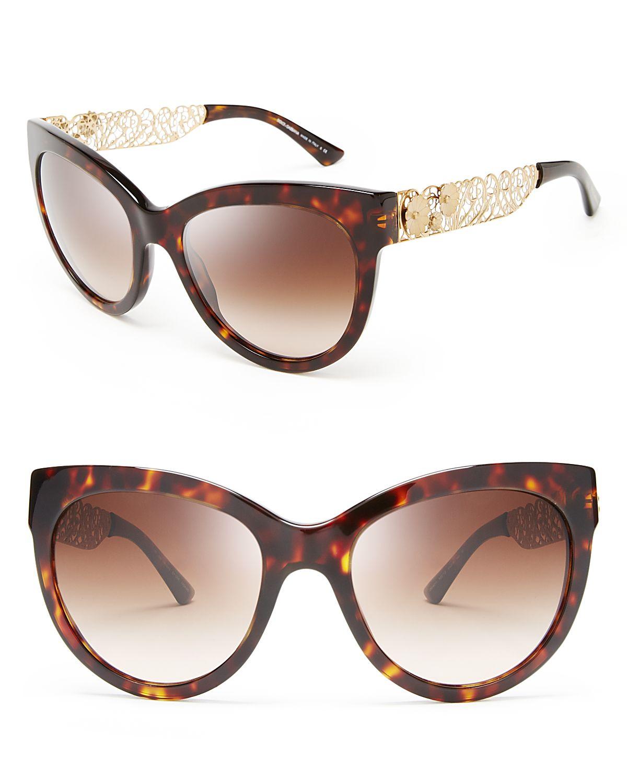 e6eafeef11fe Dolce   Gabbana Cat Eye Floral Filigree Sunglasses in Brown - Lyst