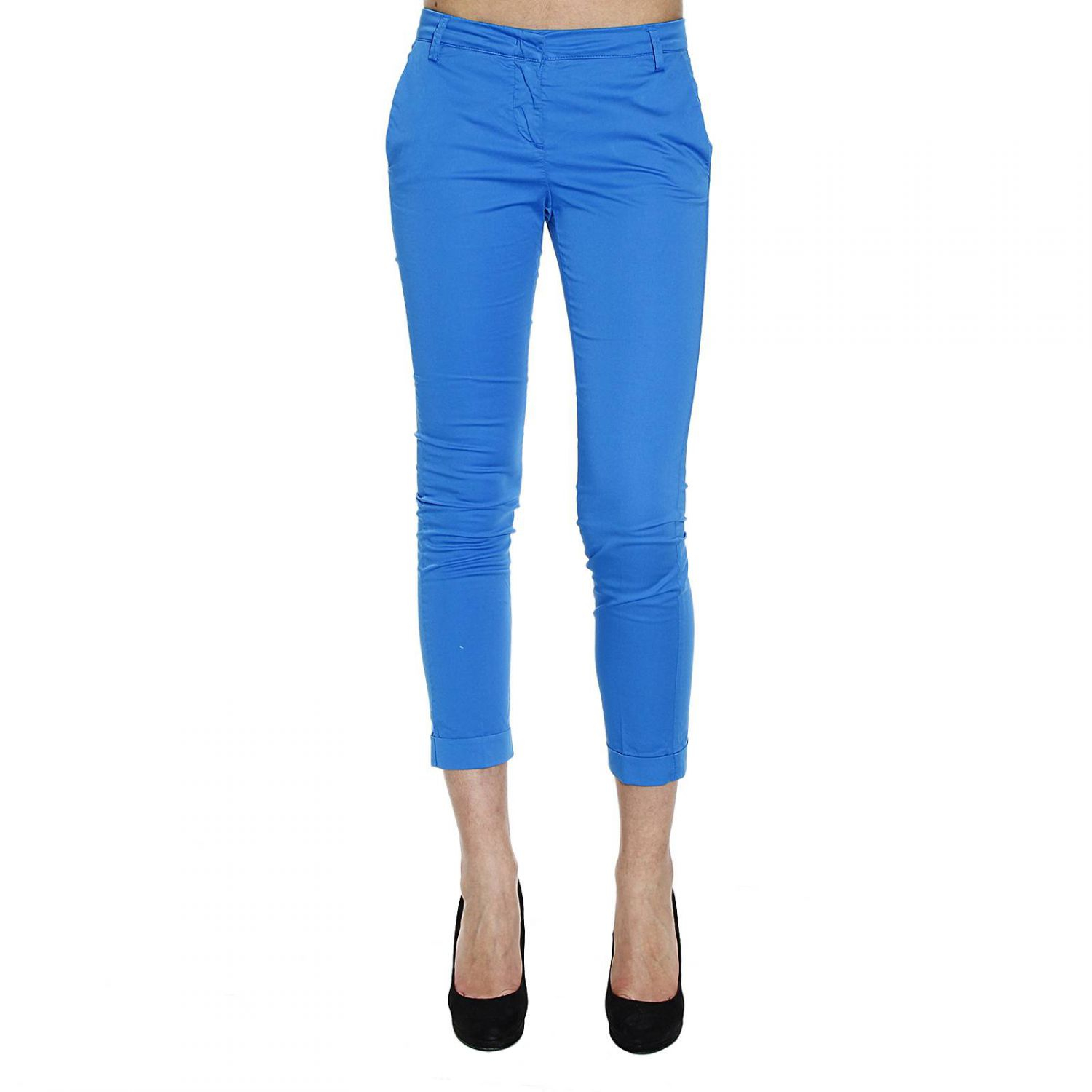 Manila grace Trouser Pants Capri Satin in Blue | Lyst