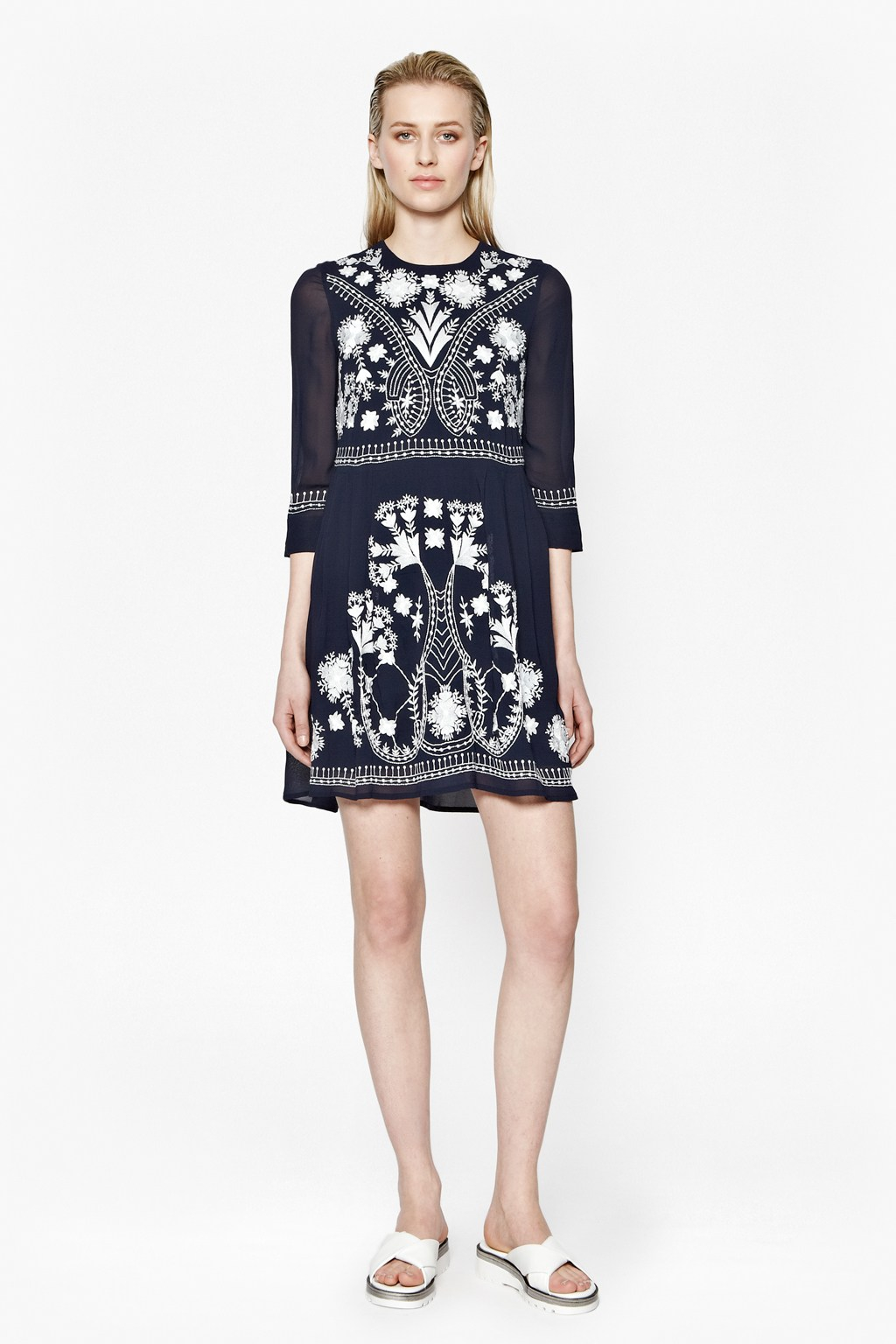 French connection kiko stitch embroidered dress in black