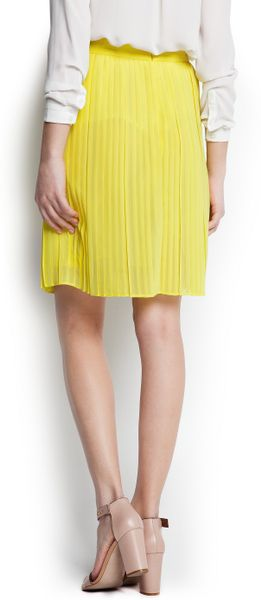 mango pleated skirt in yellow lyst