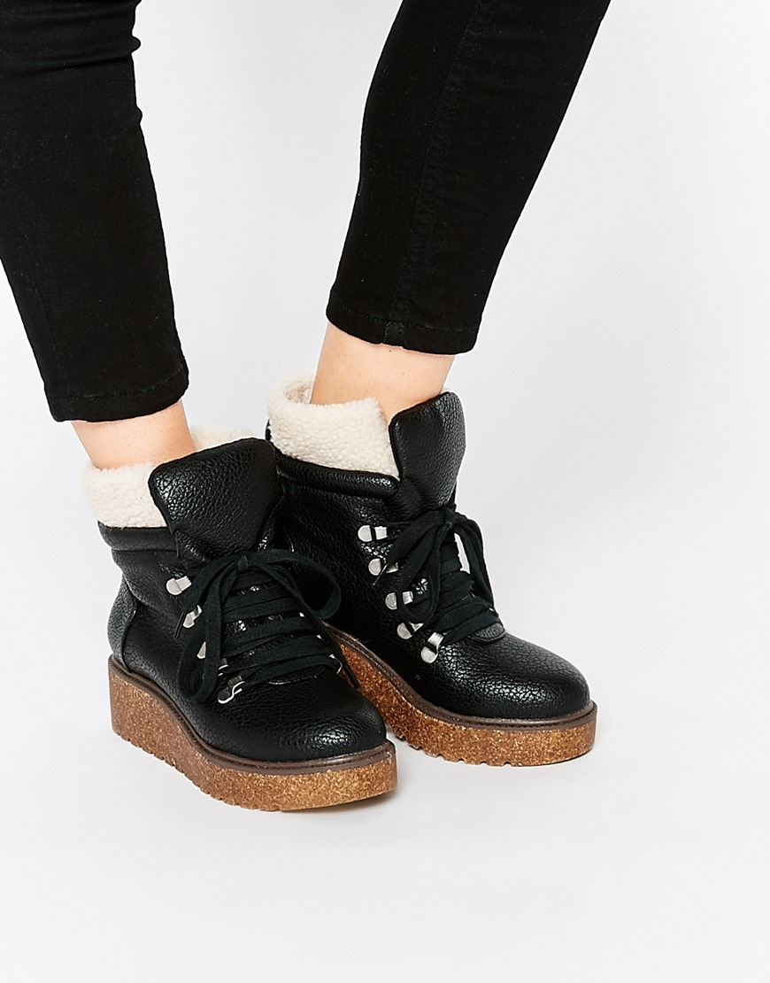asos adaptive faux shearling lace up ankle boots in black