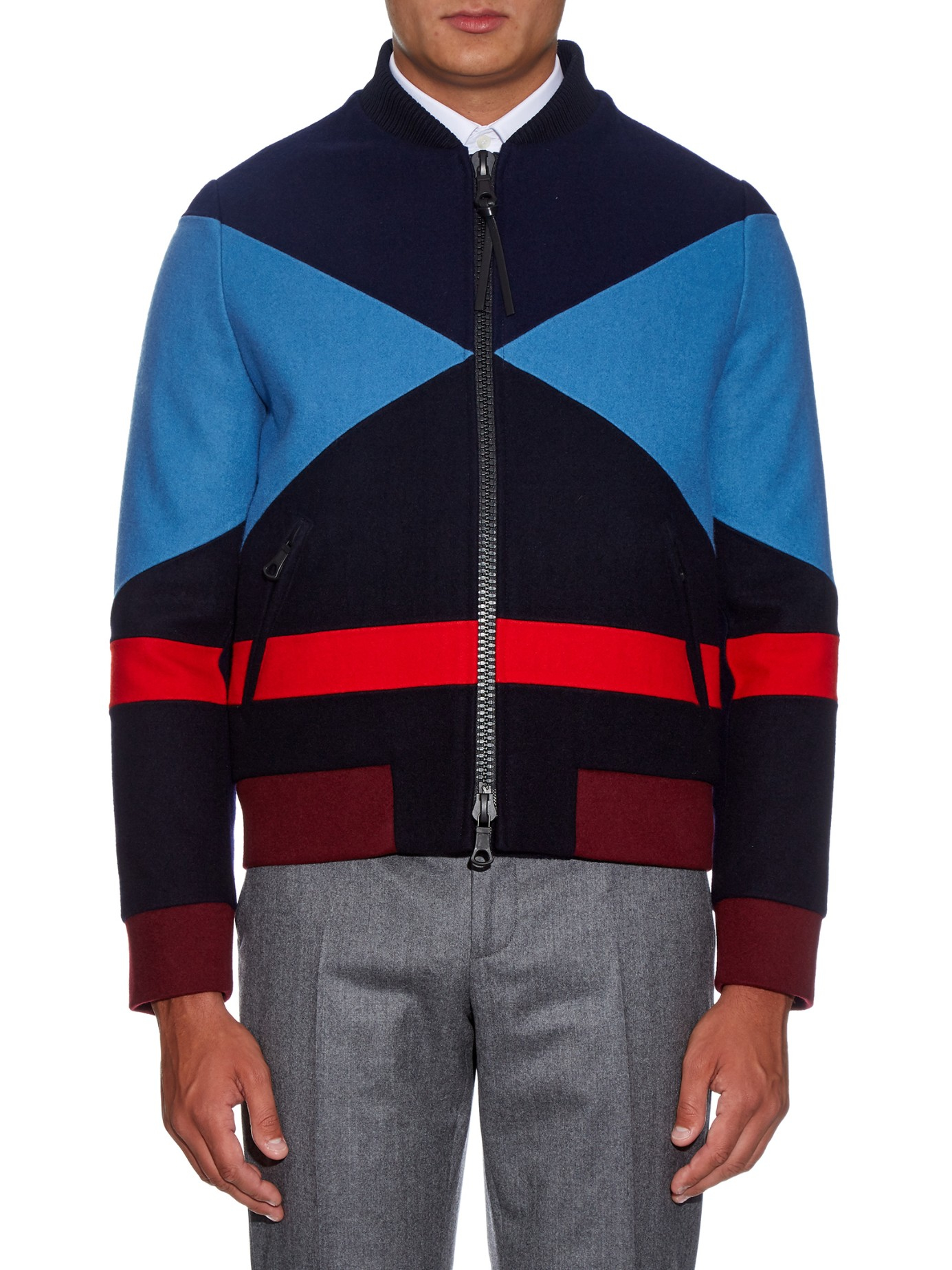 Valentino Colour-Block Wool Bomber Jacket in Blue for Men | Lyst